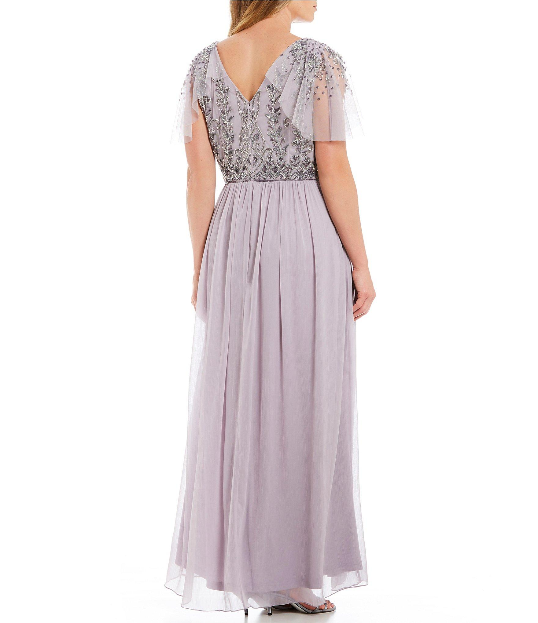 042558b412f Adrianna Papell - Gray Plus Size V-neck Flutter Sleeve Beaded Bodice Gown -  Lyst. View fullscreen