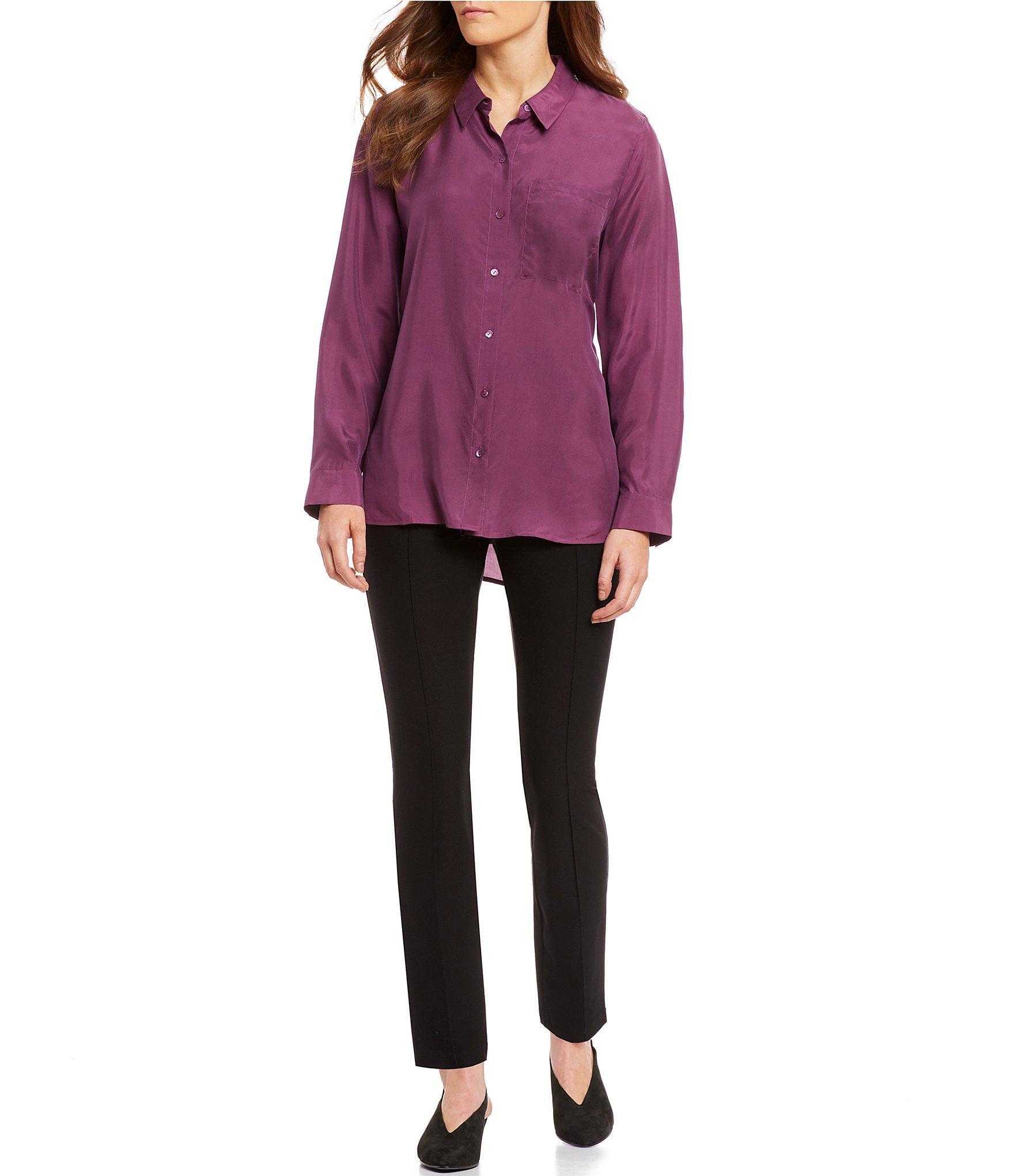 9207431c65b0e9 Lyst - Eileen Fisher Classic Collar Silk Button Front Tunic in Purple