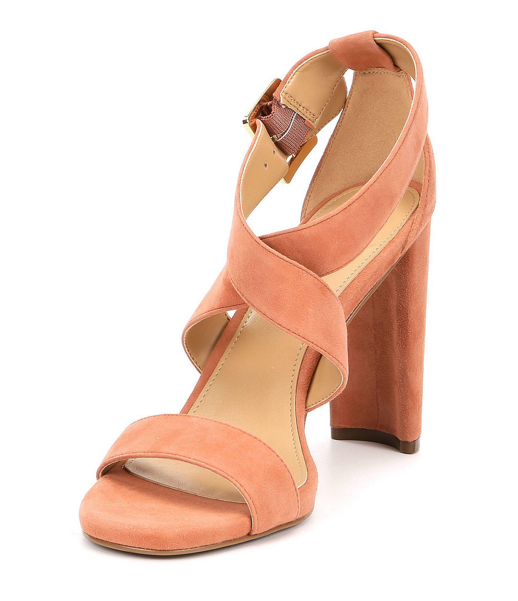 96a6de04cce5 Lyst - MICHAEL Michael Kors Shia Suede Strappy Dress Sandals
