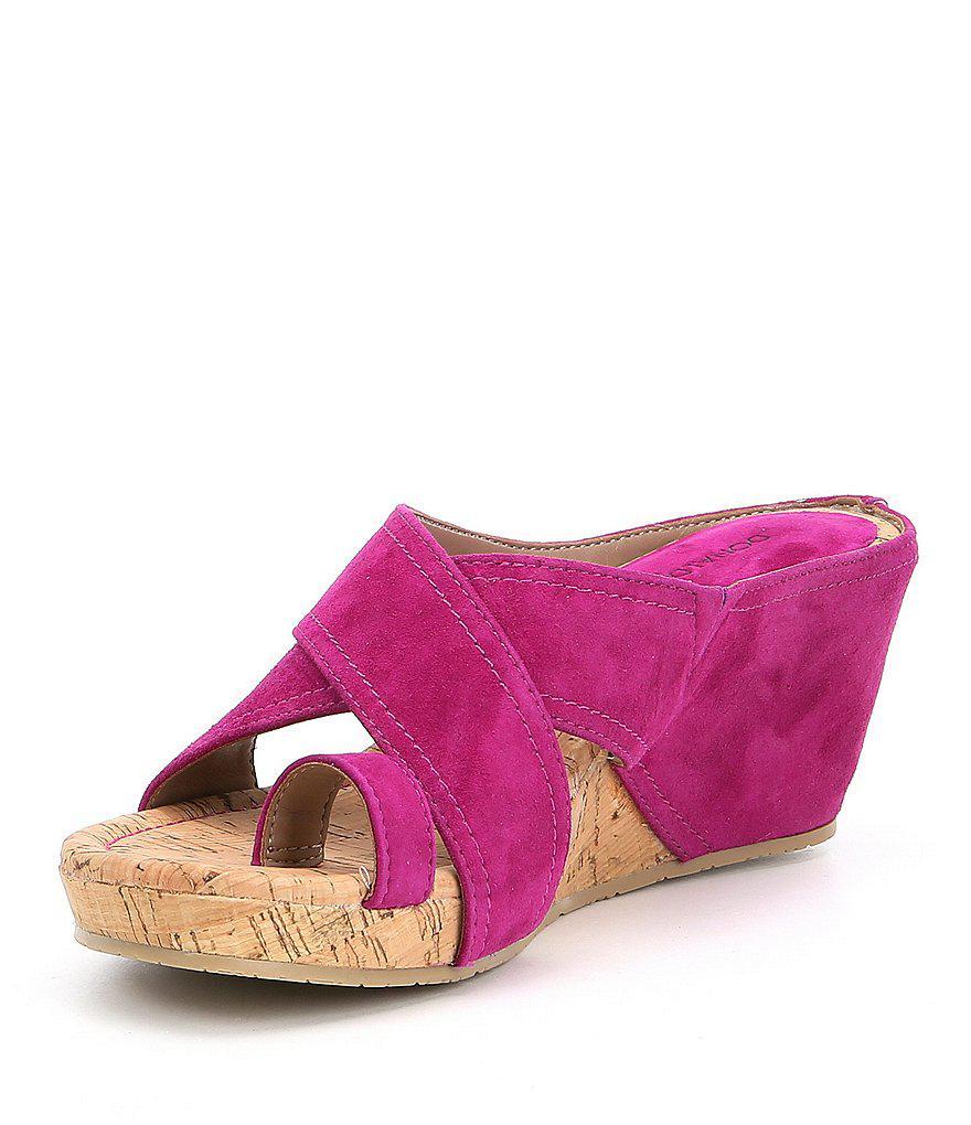 Geea Suede Cork Wedge Sandals Lt7ys