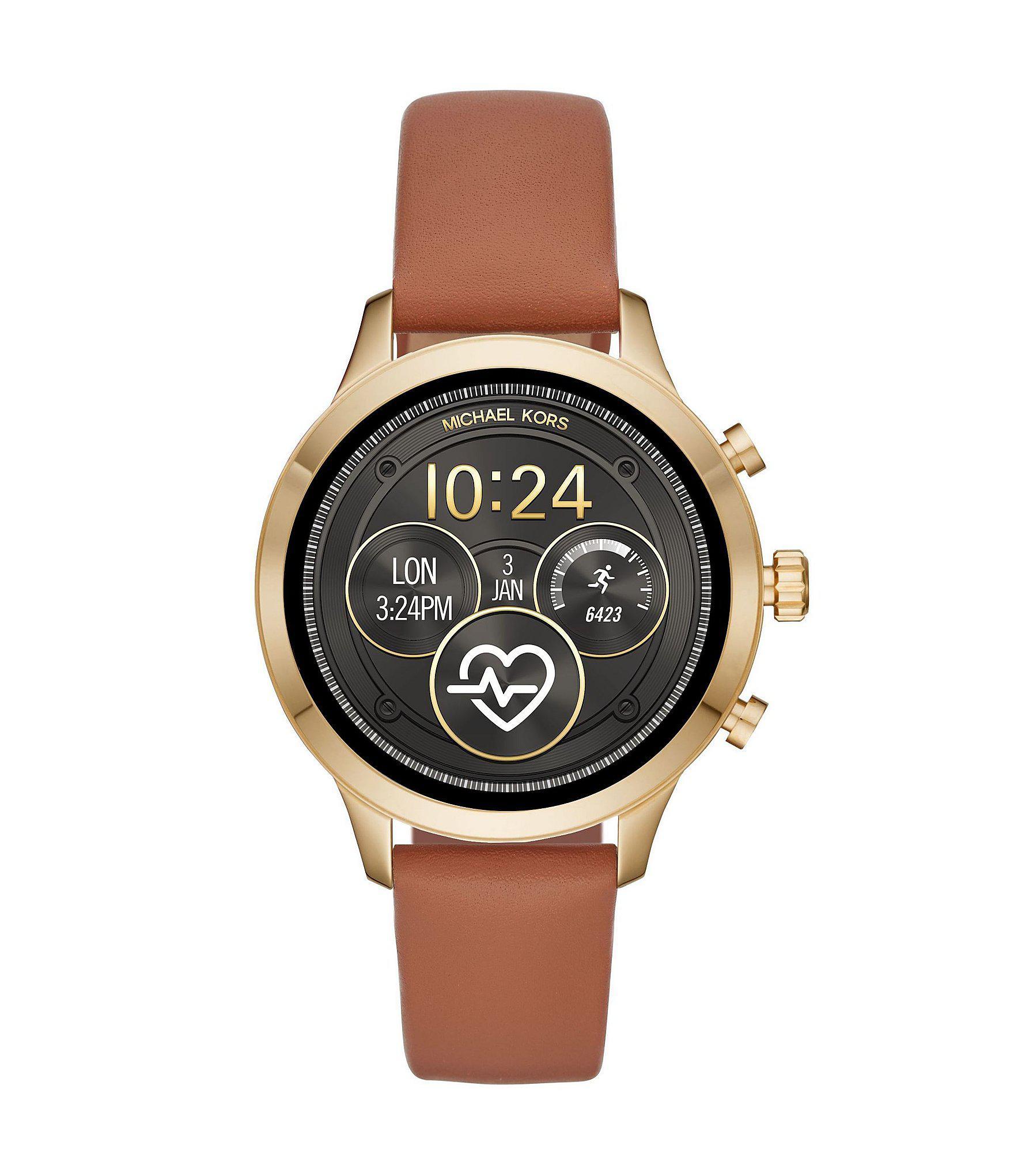 fbc8067b2914 Michael Kors - Brown Access Runway Luggage Leather Watch Strap - Lyst. View  fullscreen