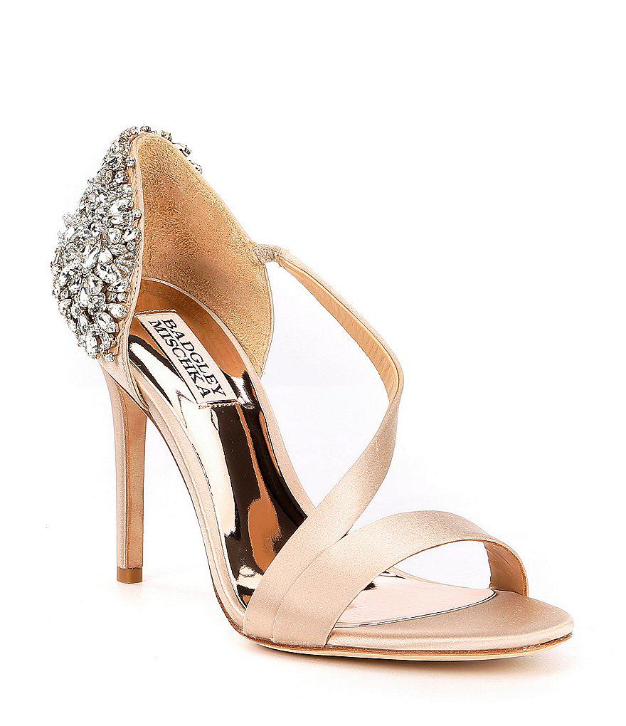 dcaa4be3492c Badgley Mischka Pauline Bejeweled Satin Dress Sandals 7fvE2ltUy ...