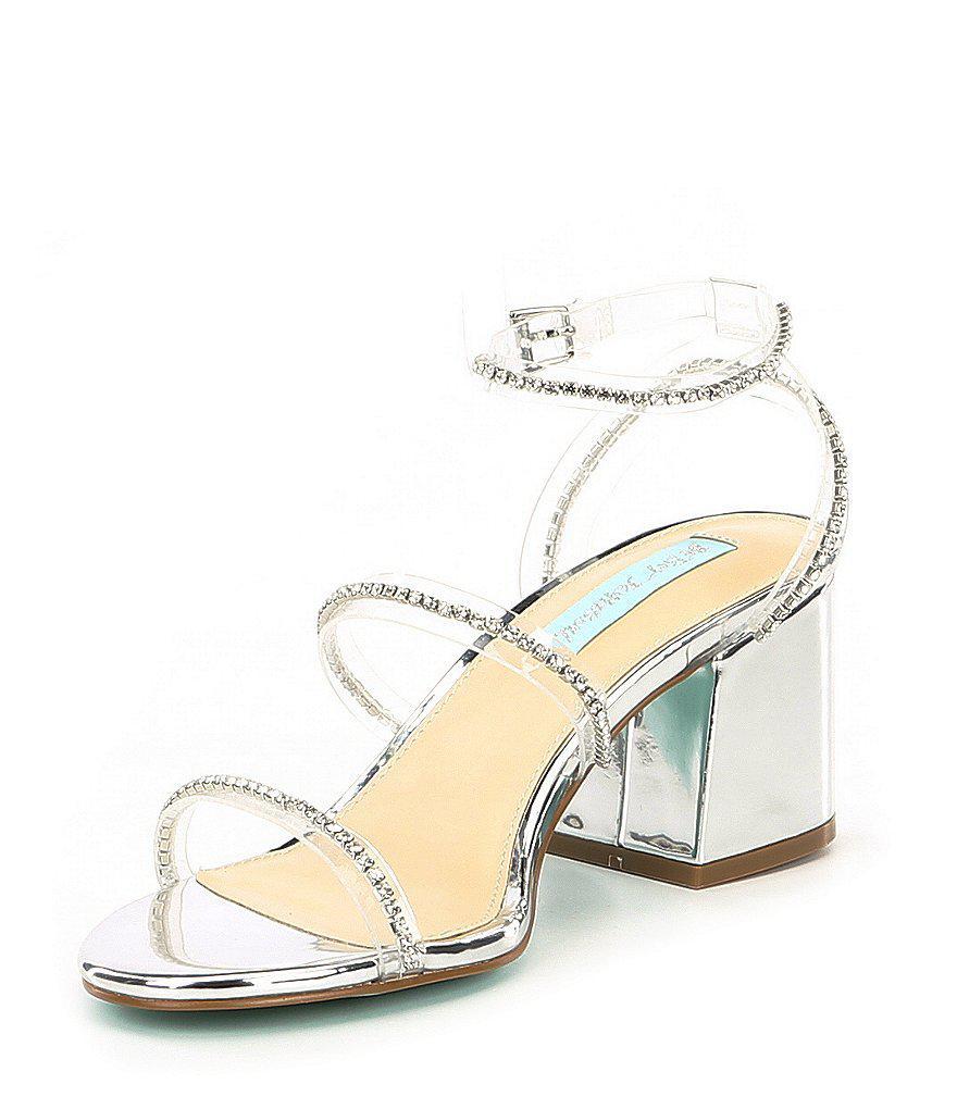 Blue by Betsey Johnson Sami Jeweled Translucent Strap Block Heel Dress Sandals fGW4O1pZv