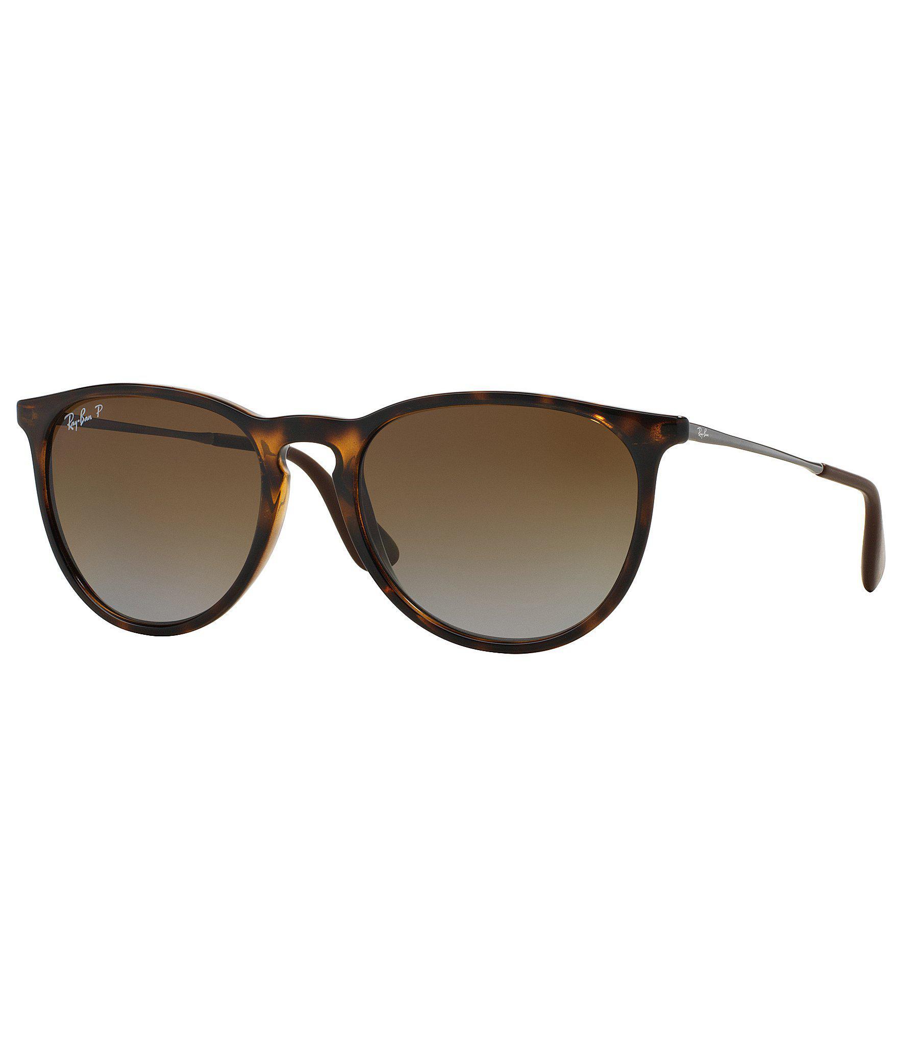 e00dedabcb Lyst - Ray-Ban Erika Polarized Gradient Round Sunglasses in Brown ...
