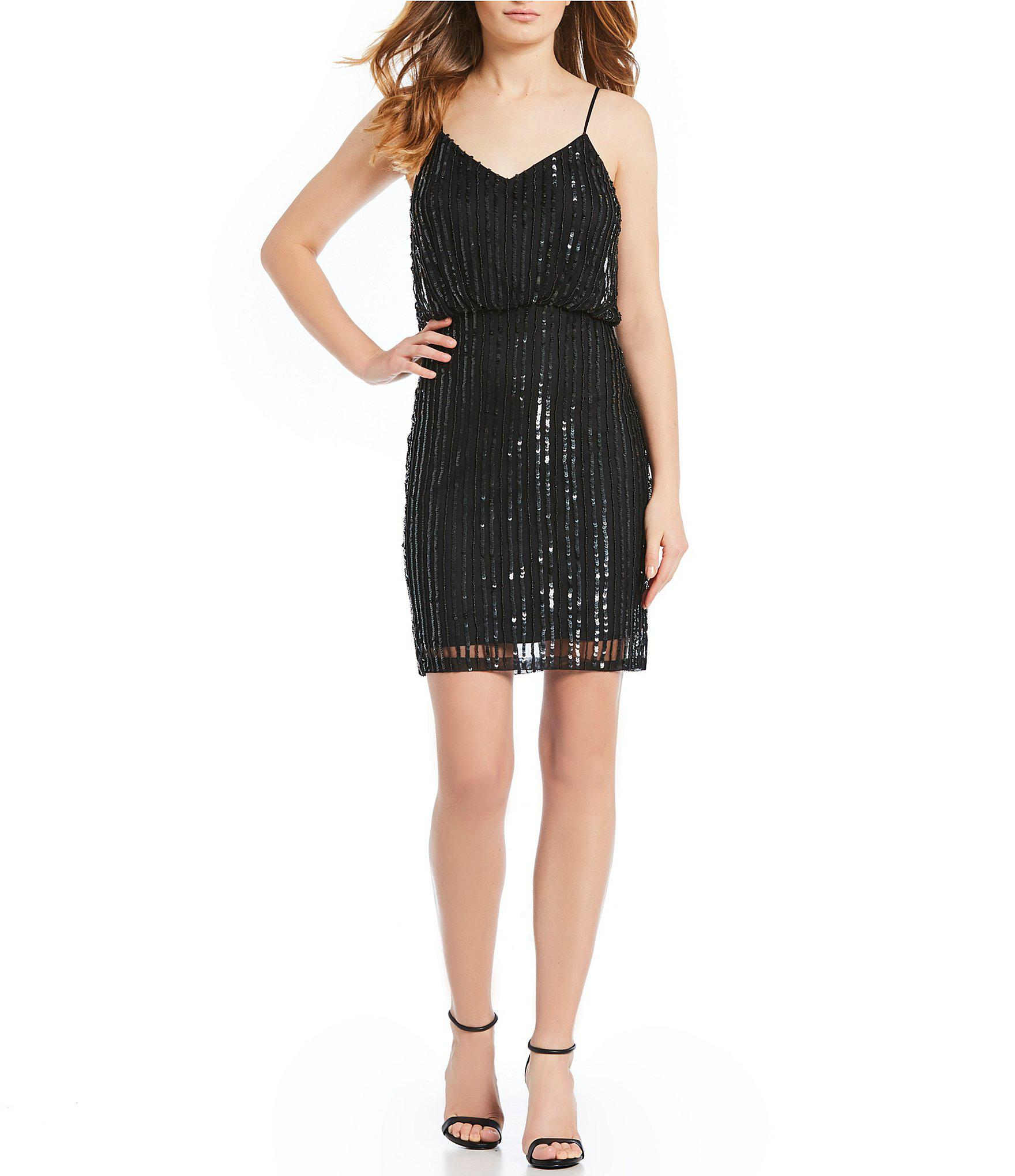 a8b49ce1d755 French Connection Aster Shine Striped Sequin Blouson Dress in Black ...