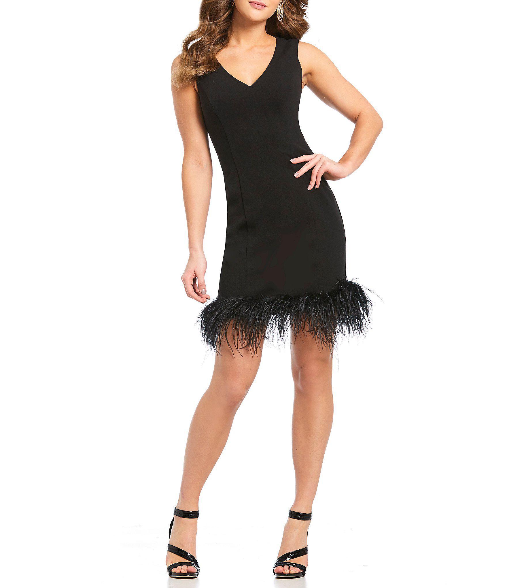a3a4b3f6 Eliza J V-neck Feather Hem Sheath Dress in Black - Lyst