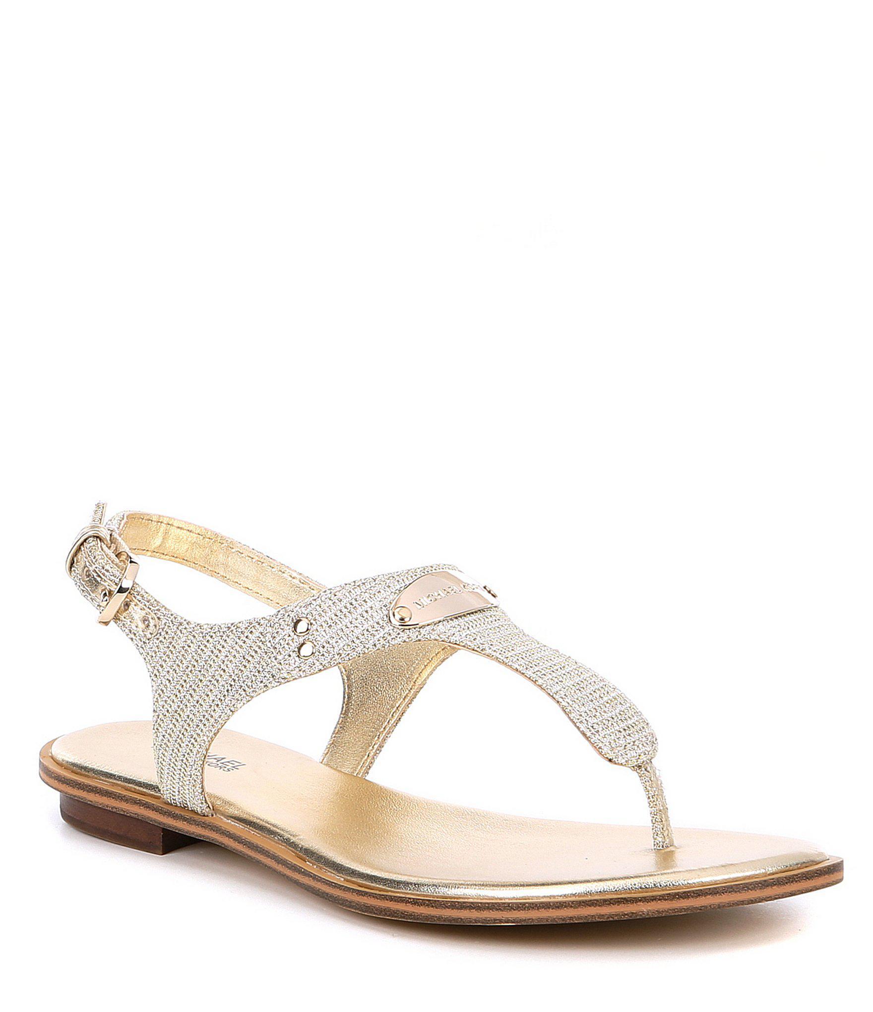 304cee2df9ab MICHAEL Michael Kors Mk Plate Metallic Thong Sandals in Metallic - Lyst