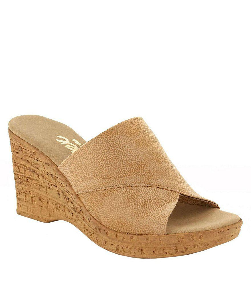 Onex. Women's Natural Christina Leather Banded Cork Wedge Sandals