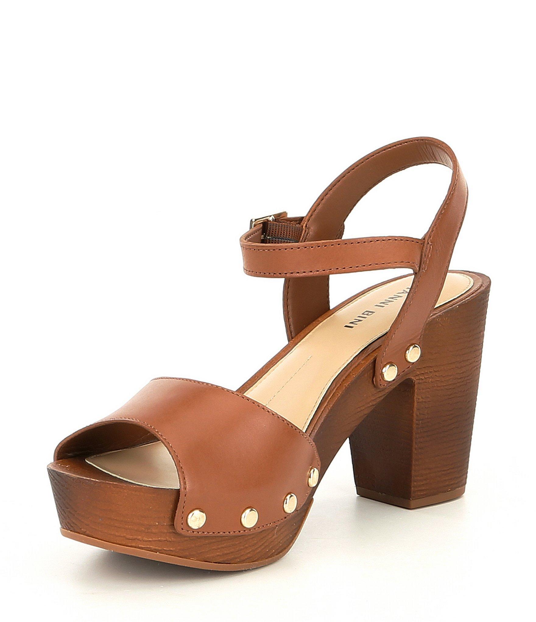 34dd78a8dee Gianni Bini - Brown Renella Two-strap Wood Platform Block Heel Sandals -  Lyst. View fullscreen