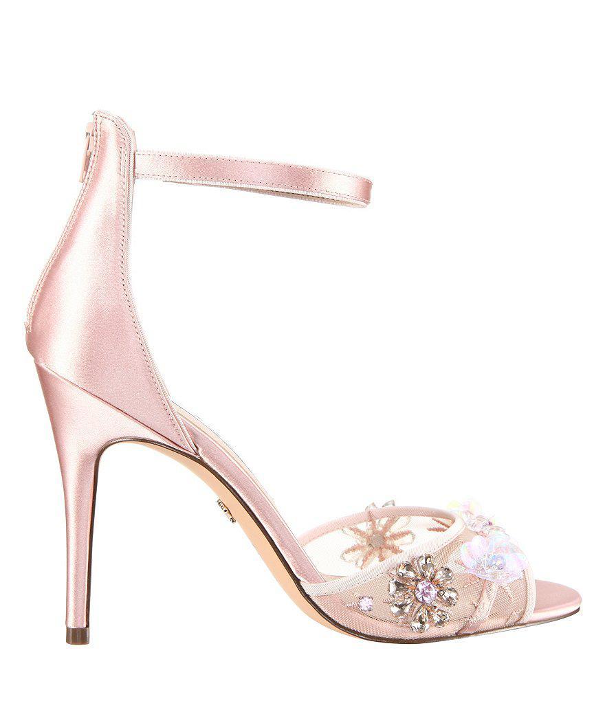 Nina Clarity Satin Embellishment Ankle Strap Dress Sandals RDQTDRL