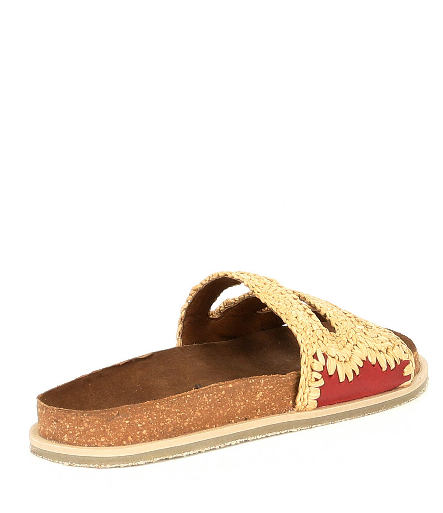 e0c1e2bbfabd Lyst - Free People Woven Crete Footbed Slip On Sandals in Red