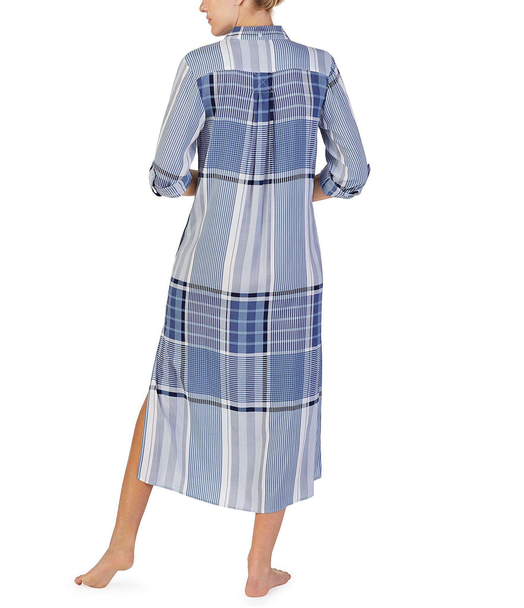 c4bfa77bfc4307 Donna Karan - Blue Mixed Print Maxi Sleep Shirt - Lyst. View fullscreen