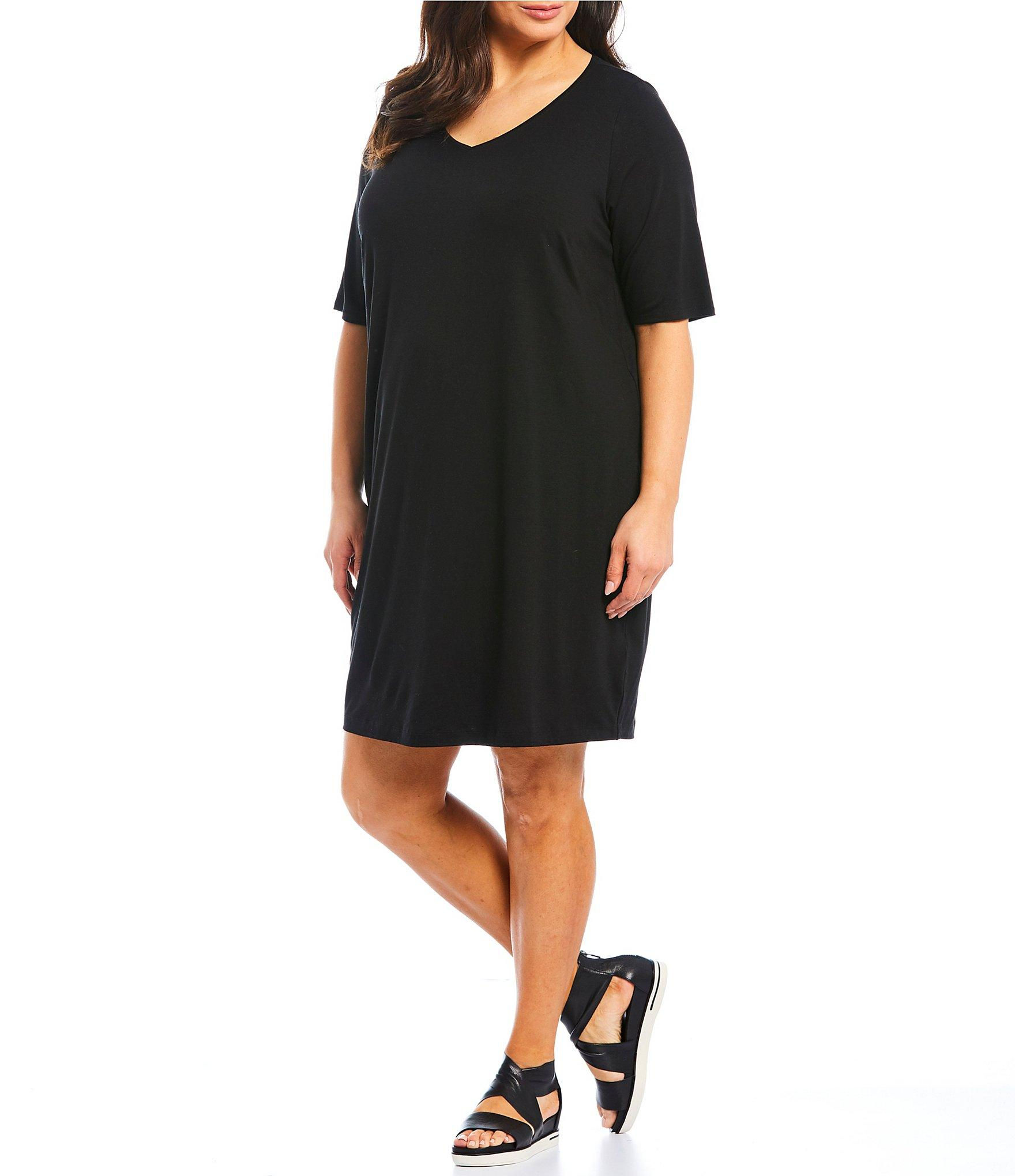 31343a193eb Lyst - Eileen Fisher Plus Size V-neck Elbow Sleeve Shift Dress in Black