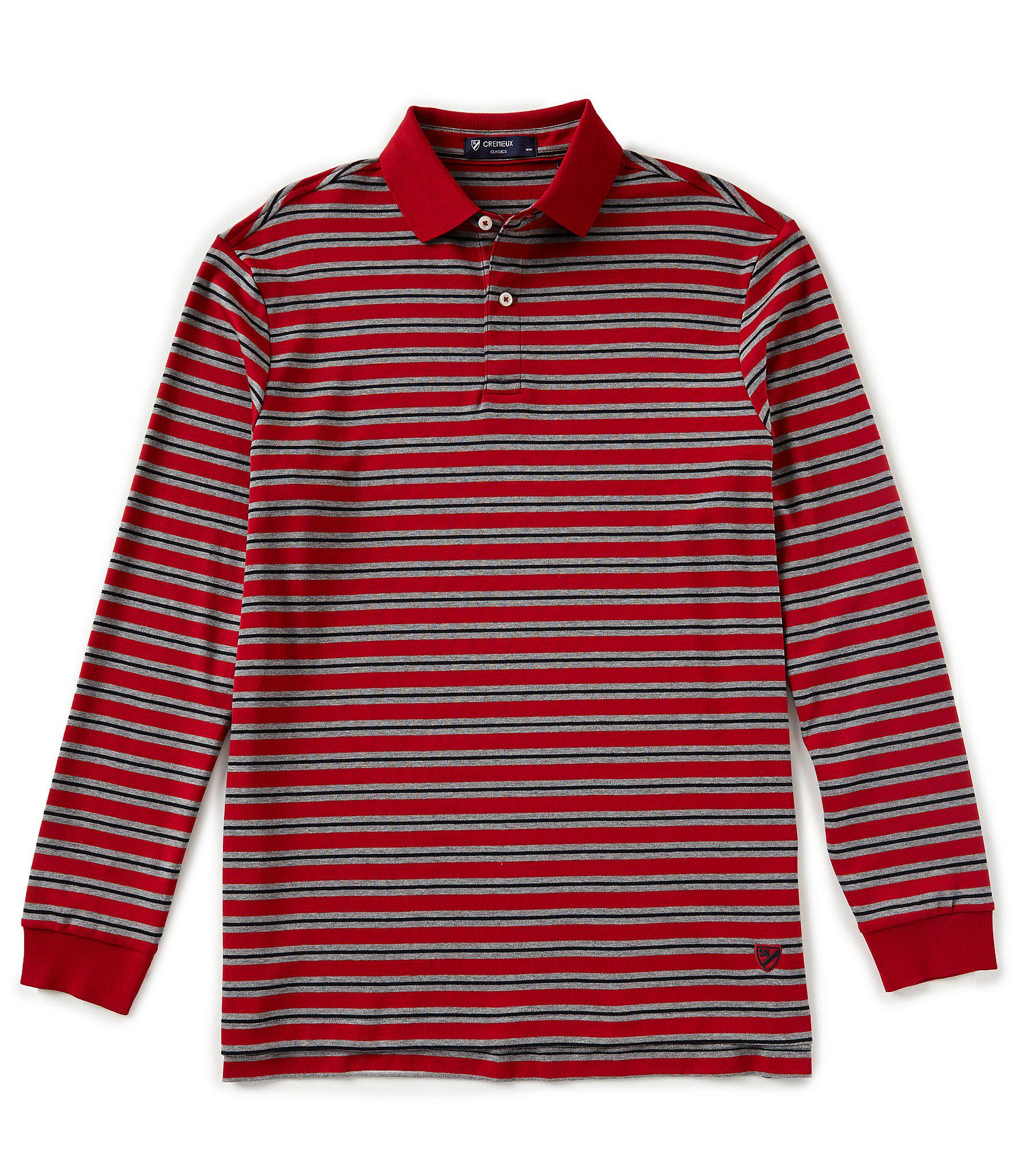 f70508aa Lyst - Cremieux Stripe Pique Long-sleeve Polo Shirt for Men