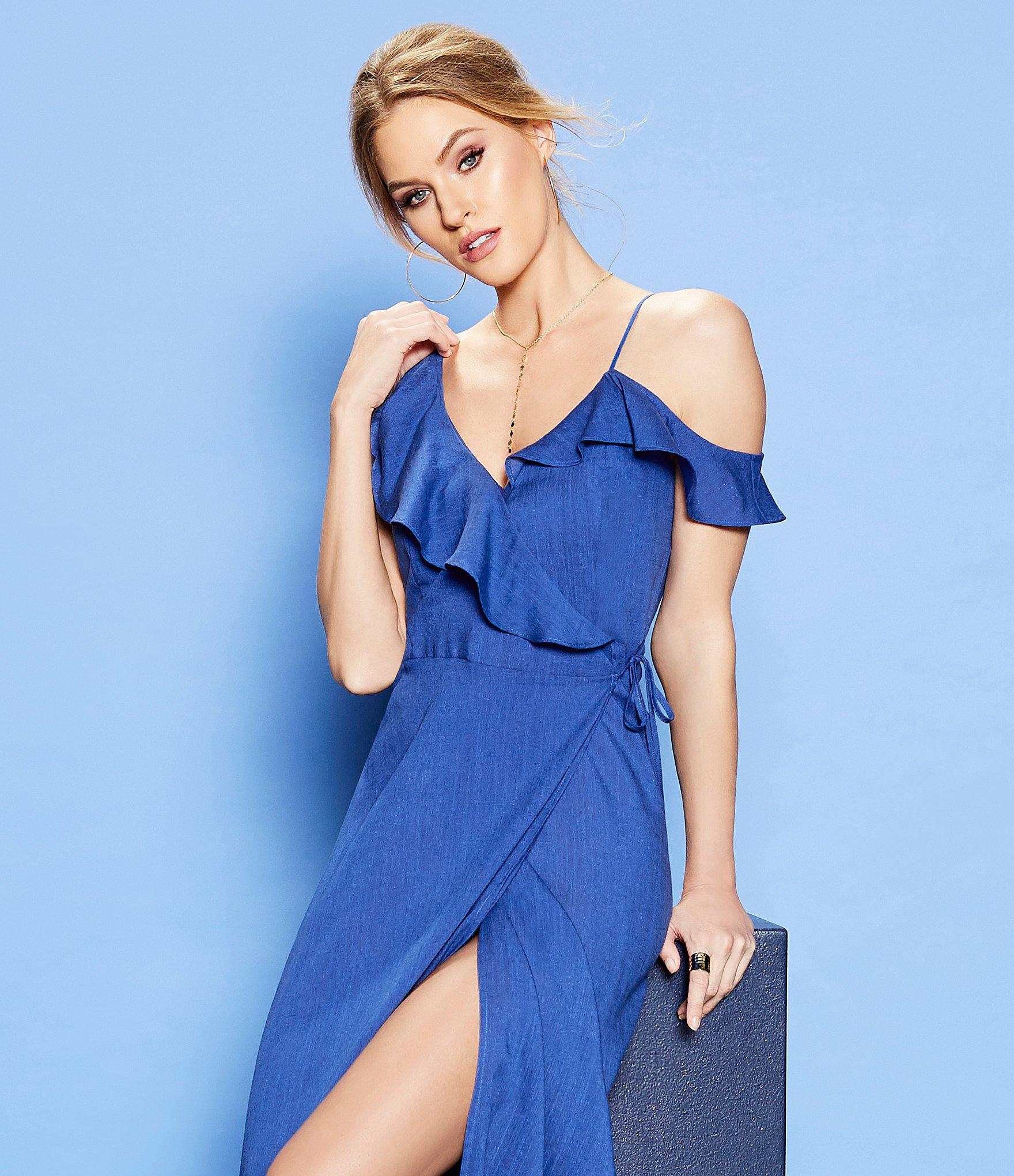 19132c60ab5 Lyst - Sugarlips Ruffle Front Wrap Maxi Dress in Blue