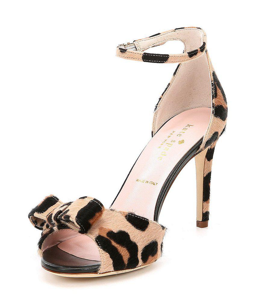 kate spade new york Ismary Leopard Print Calf Hair Bow Dress Sandals QA2Xo7RlAS