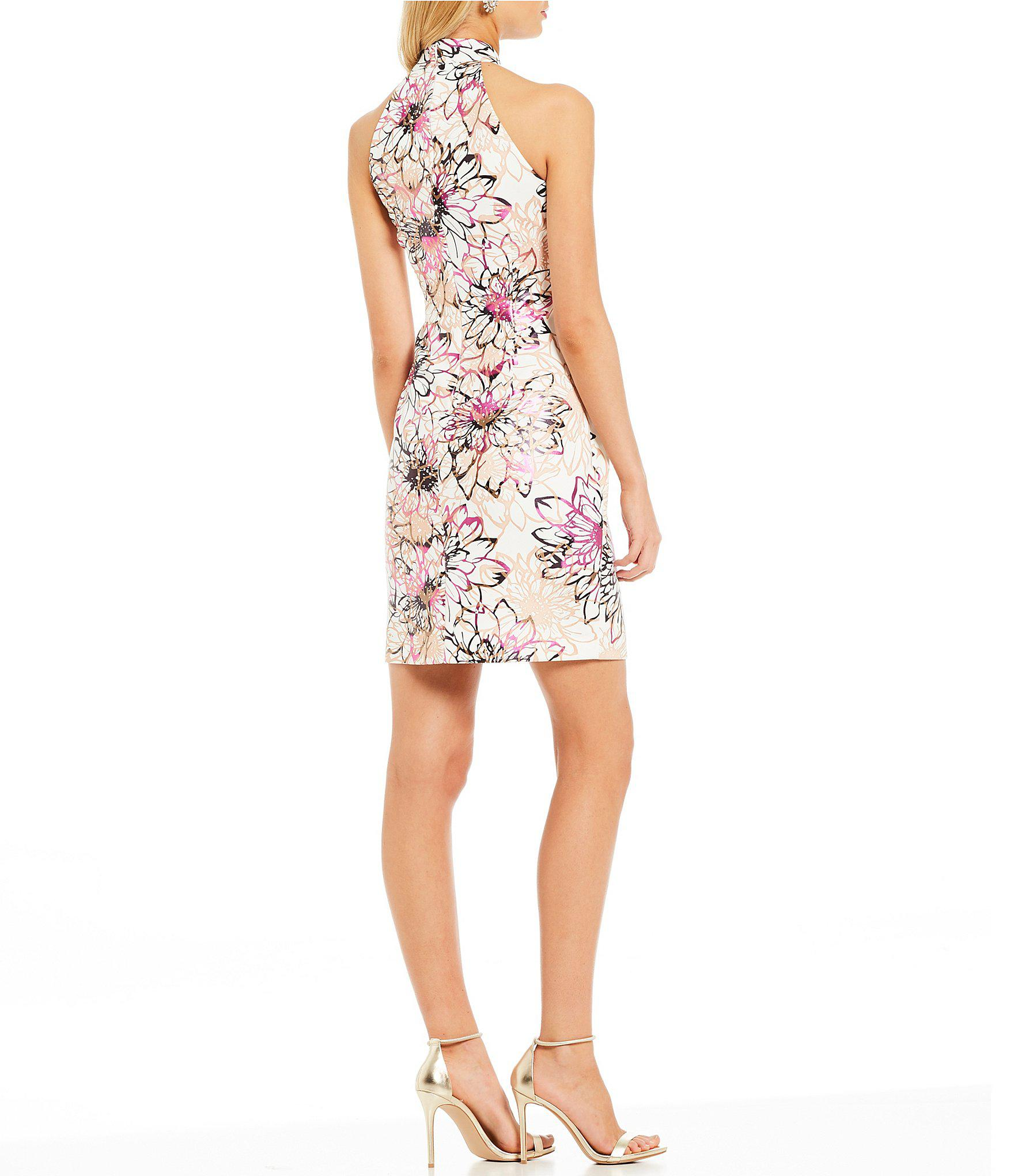 a009ad8d1d8 Belle By Badgley Mischka - White Mock Neck Floral Print Cocktail Dress -  Lyst. View fullscreen