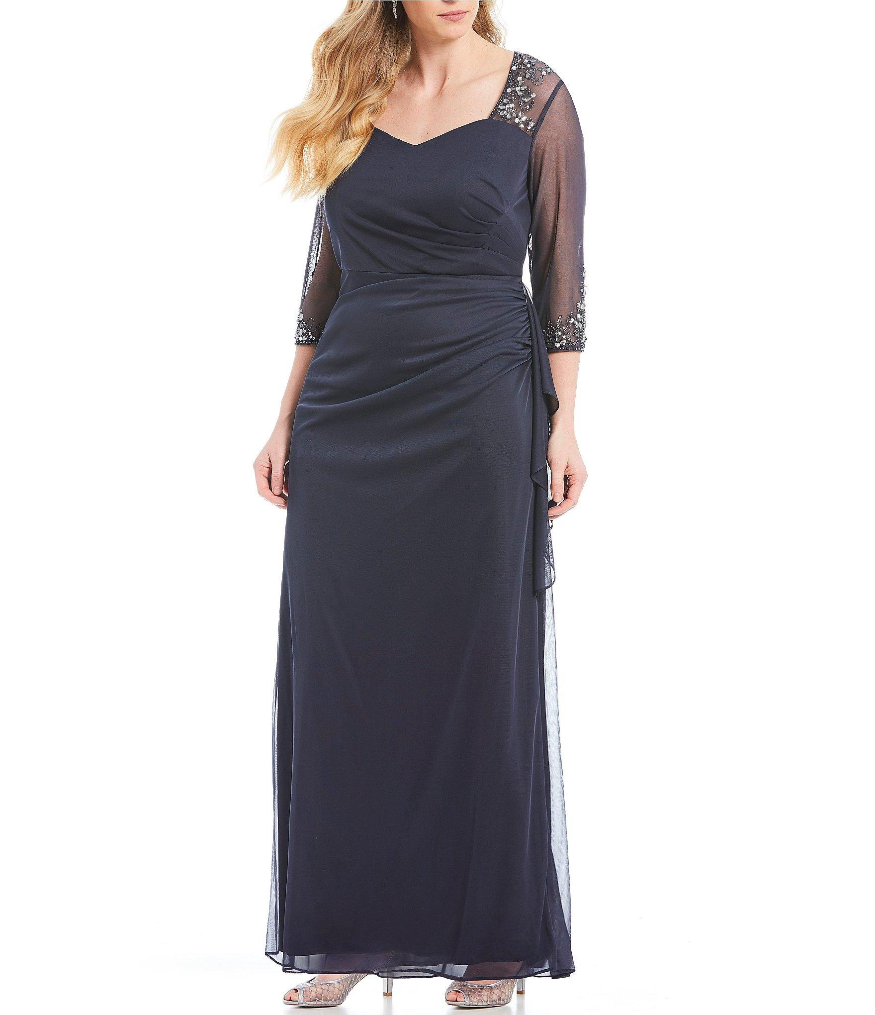 9571f677e0a Alex Evenings. Women s Plus Size Illusion Mesh Sweetheart Neck 3 4 Sleeve  Gown