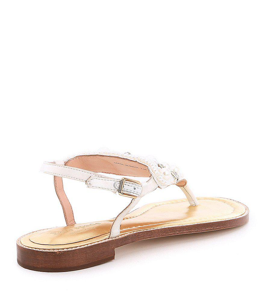 5f41063d89fe Lyst - Kate Spade Sama Satin Pearl And Jewel Embellishment Ankle ...