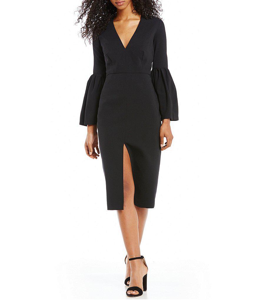 d19e34d6862 Lyst - Jill Jill Stuart Bell Sleeve Sheath Midi Dress in Black