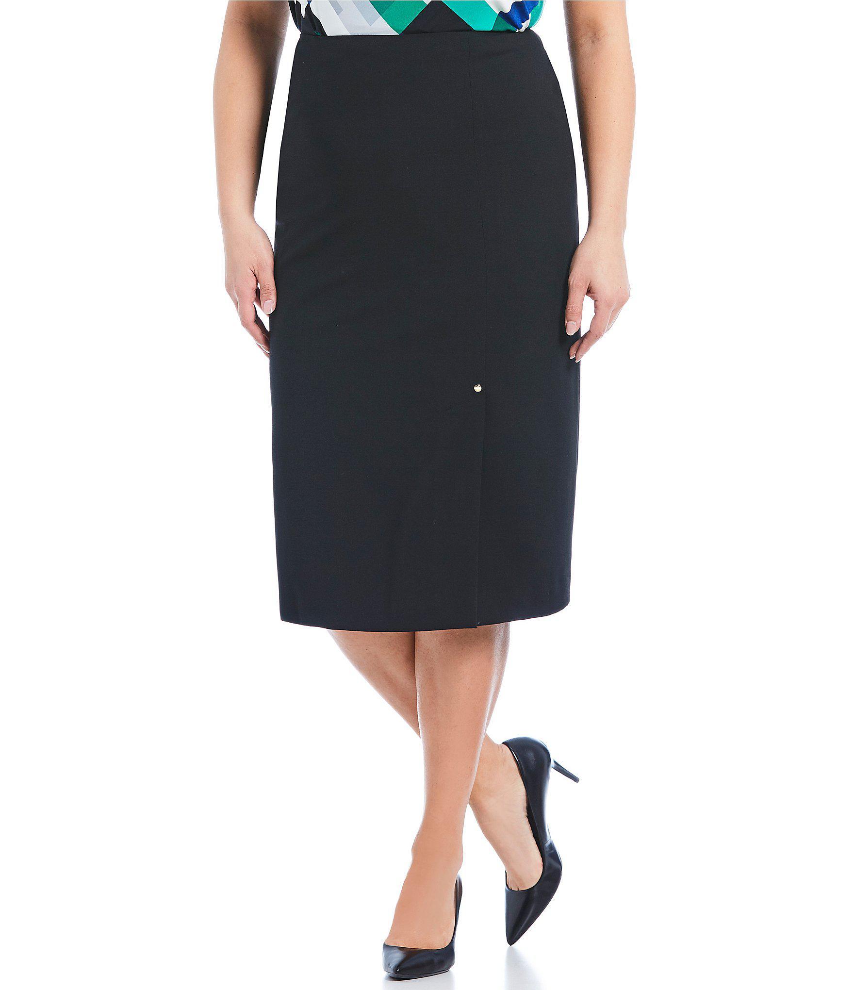9471b72b22f Lyst - Calvin Klein Plus Size Pencil Midi Skirt in Black