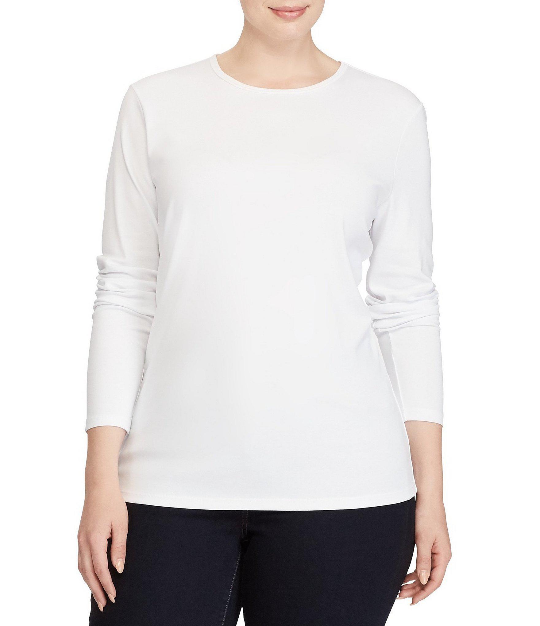 a0482703826 Lyst - Lauren By Ralph Lauren Plus Long-sleeve Stretch Cotton T ...
