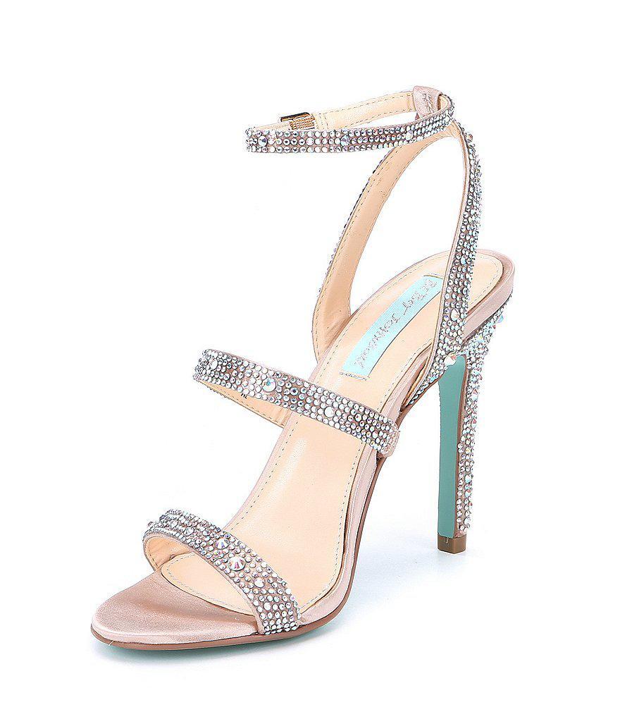Blue by Betsey Johnson Harlo Rhinestone Jeweled Metallic Dress Sandal eR0e27ef