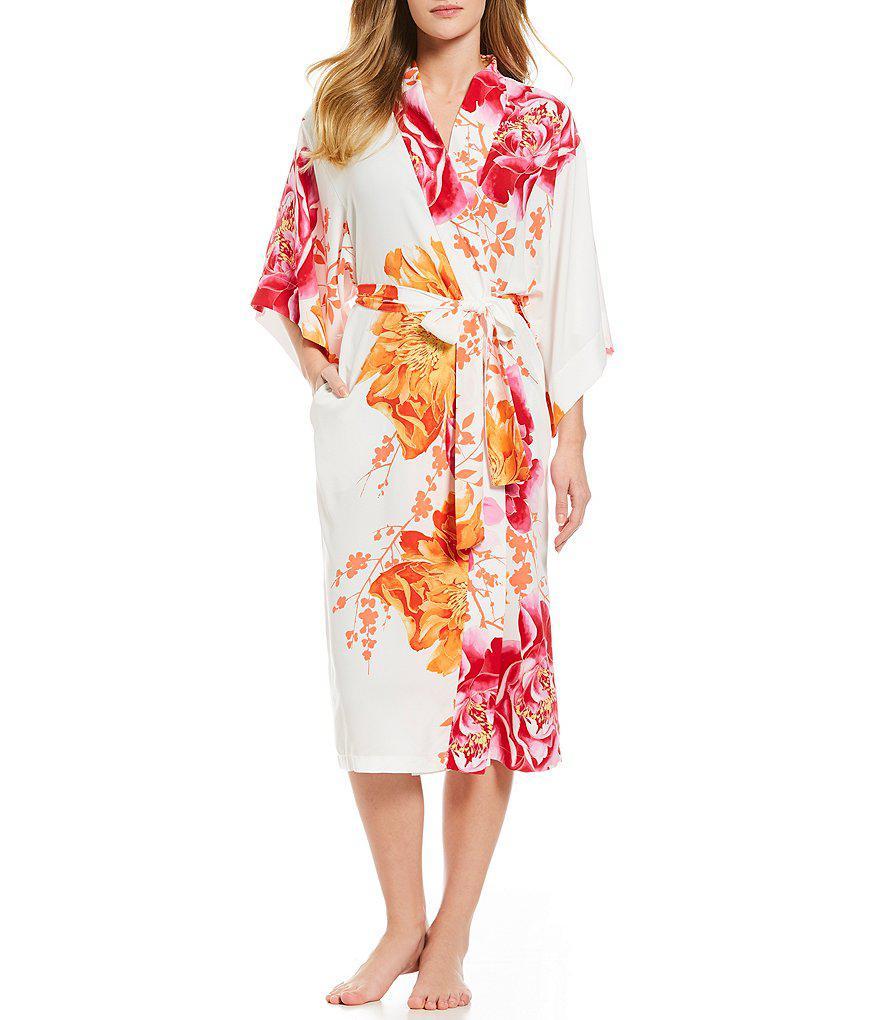 60194af7a7 Lyst - Natori Bali Charmuese Long Wrap Robe in White