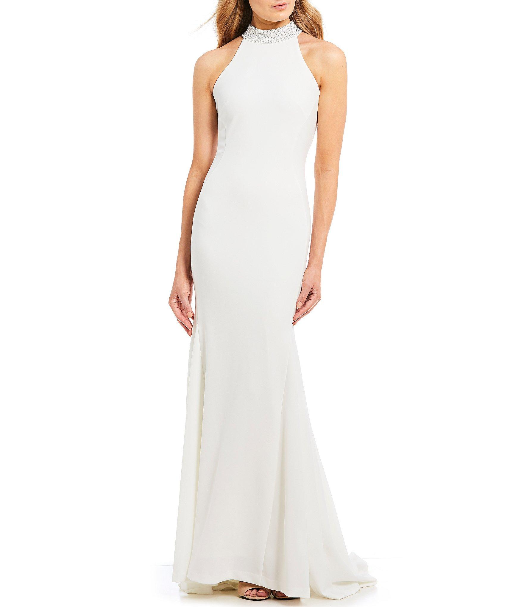5e17ae860a6 Calvin Klein Embellished Mock Neck Mermaid Gown in White - Lyst