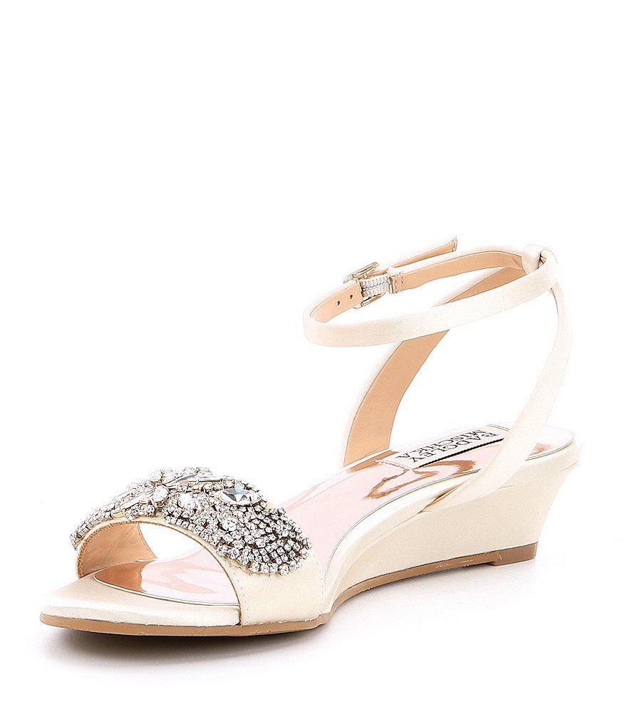 Hatch Satin Jeweled Ankle Strap Wedge Sandals y6IJyOwPs