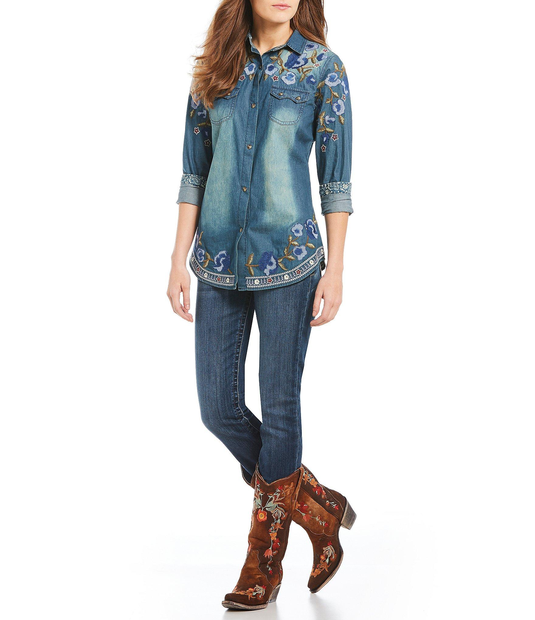 038ab0ec578 Tasha Polizzi - Blue Revolution Denim Floral Embroidered Shirt - Lyst. View  fullscreen