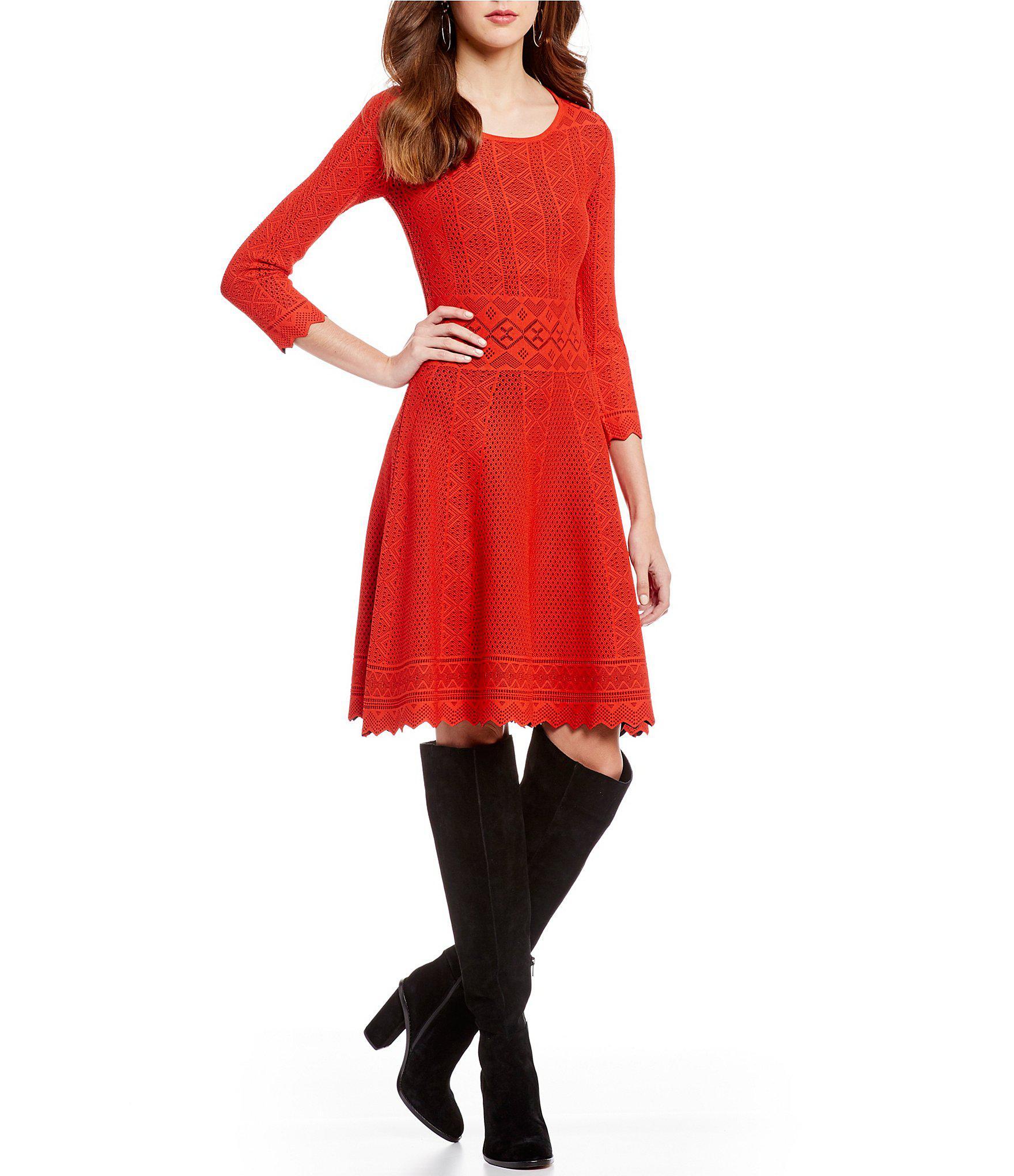 2ed8a61f07e Lyst - Gianni Bini Dani Scalloped Hem Sweater Dress in Red
