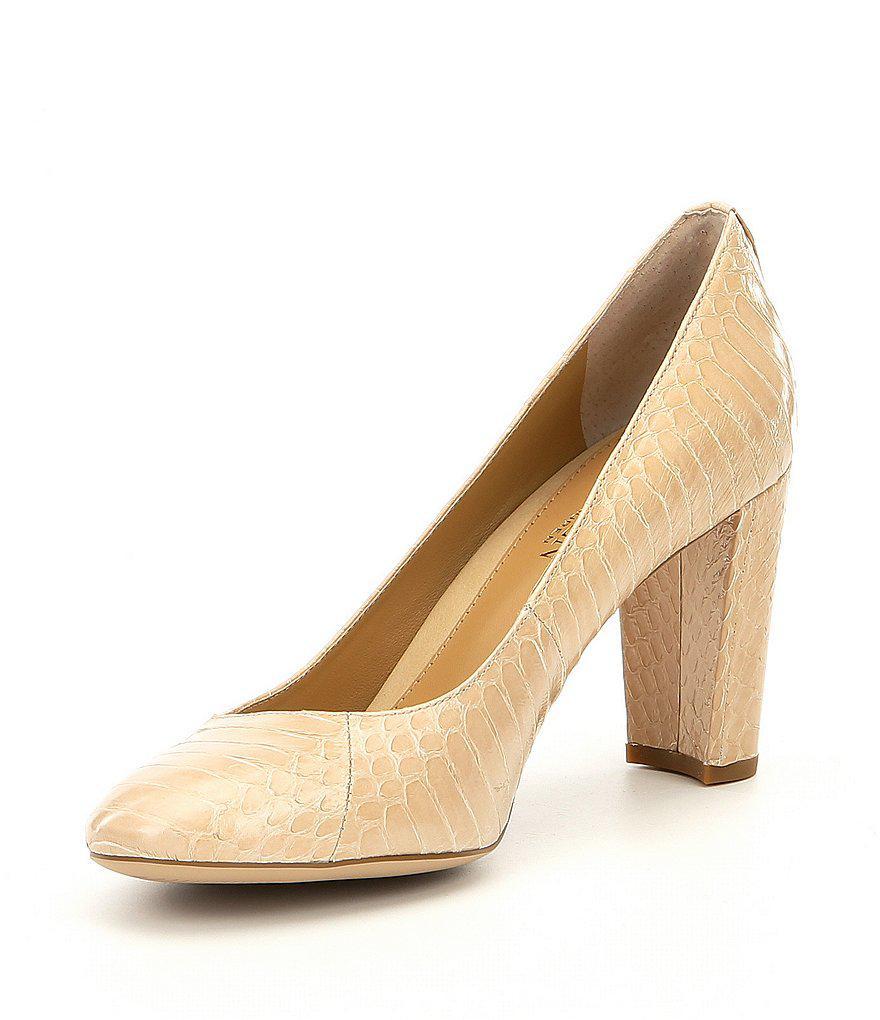 Lauren Ralph Lauren Maddie Snake Print Block Heel Dress Pumps zxKk7Q