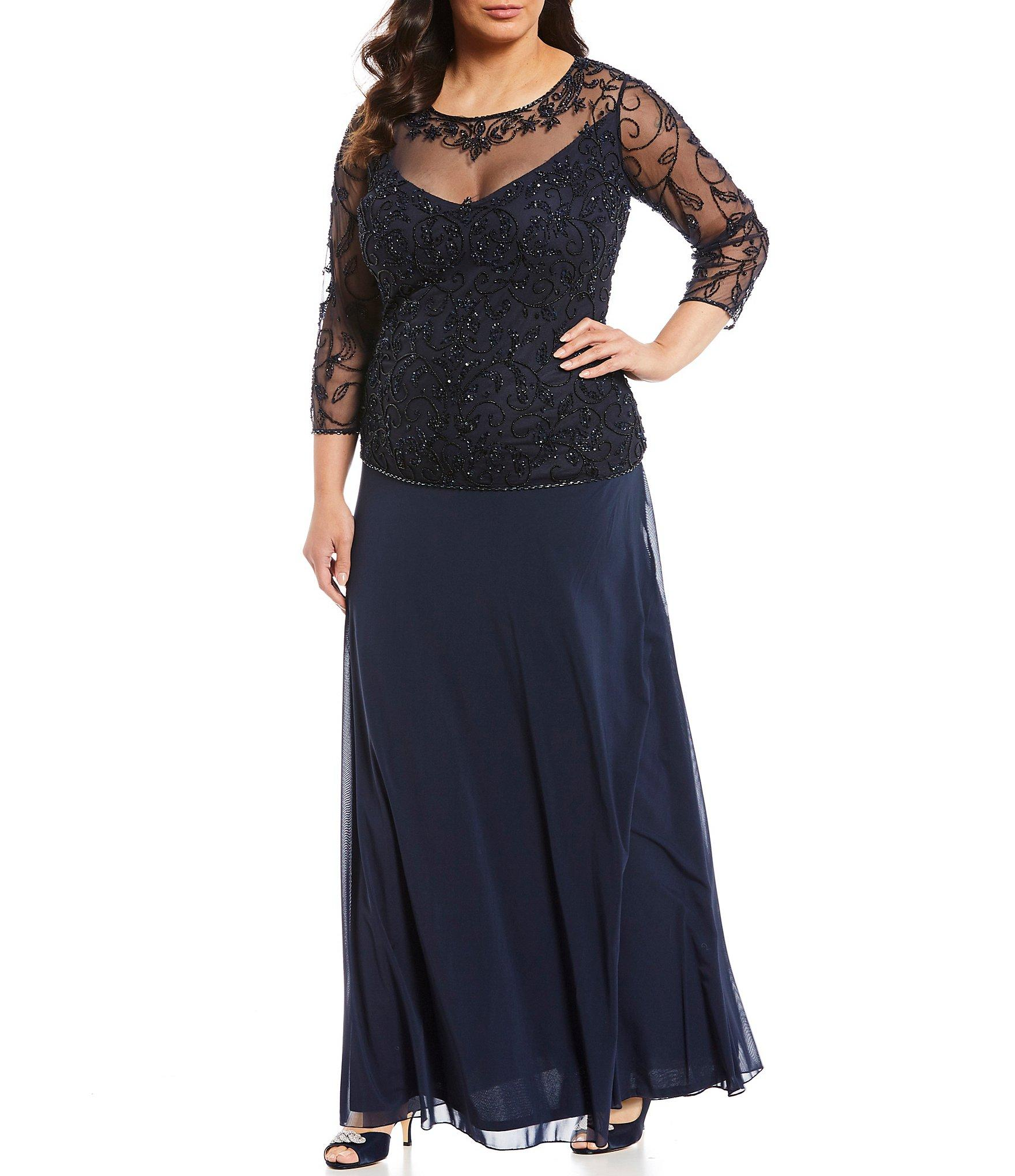 1b3677a4087 Lyst - Pisarro Nights Plus Size Beaded Bodice A-line Gown in Blue