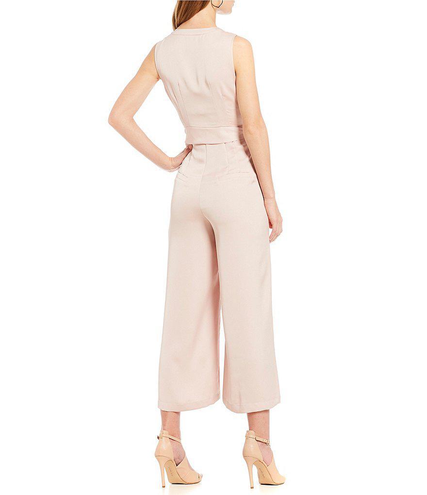 ebeab0f73c9 Lyst - Gianni Bini Vivian Deep V Jumpsuit in Pink