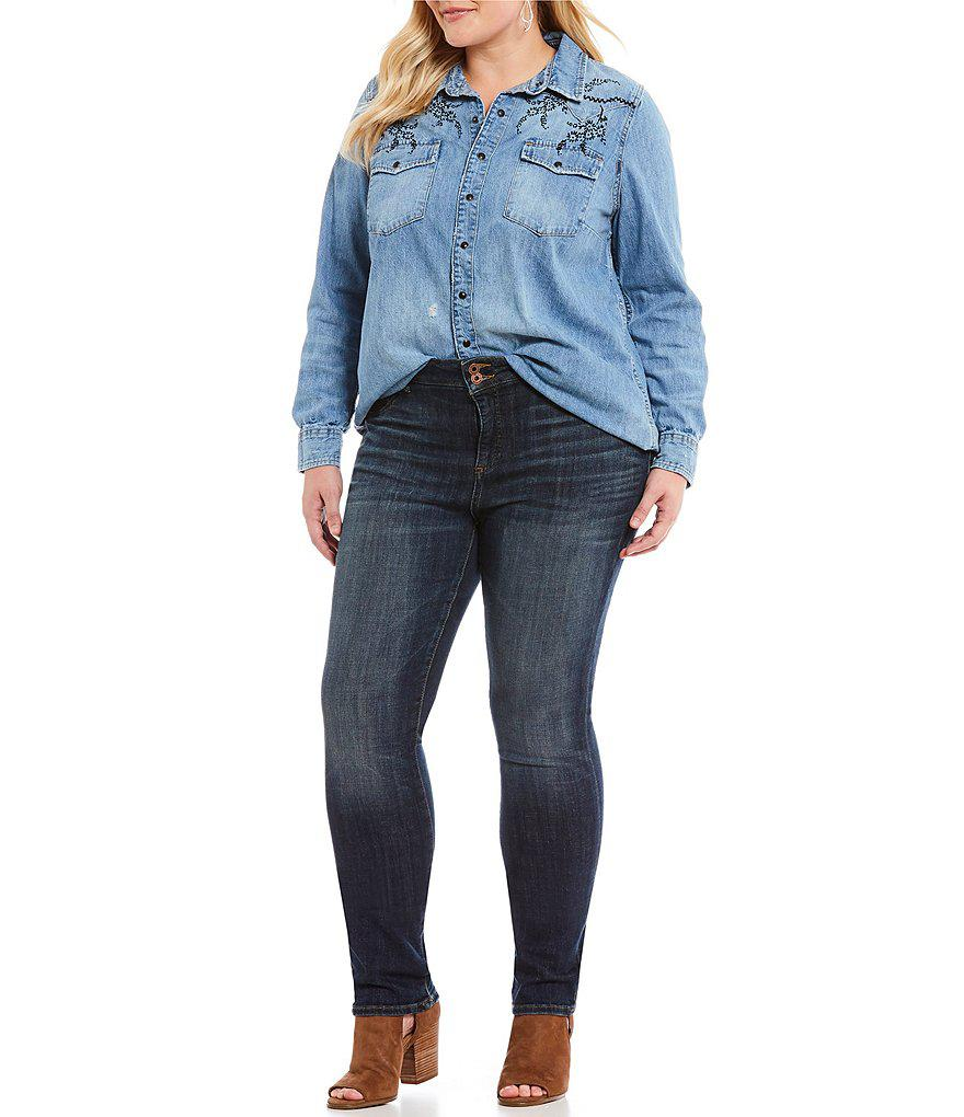 79dfe1f503 Lyst - Lucky Brand Plus Embroidered Details Snap Front Western Denim ...