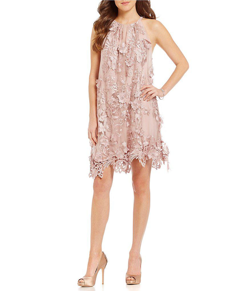 Lyst - Belle By Badgley Mischka Nia Sleeveless Embroidered Mesh ...