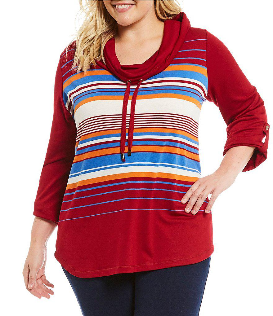 ae579774594d1 Lyst - Ruby rd Plus Cowl-neck Stripe Pullover in Red