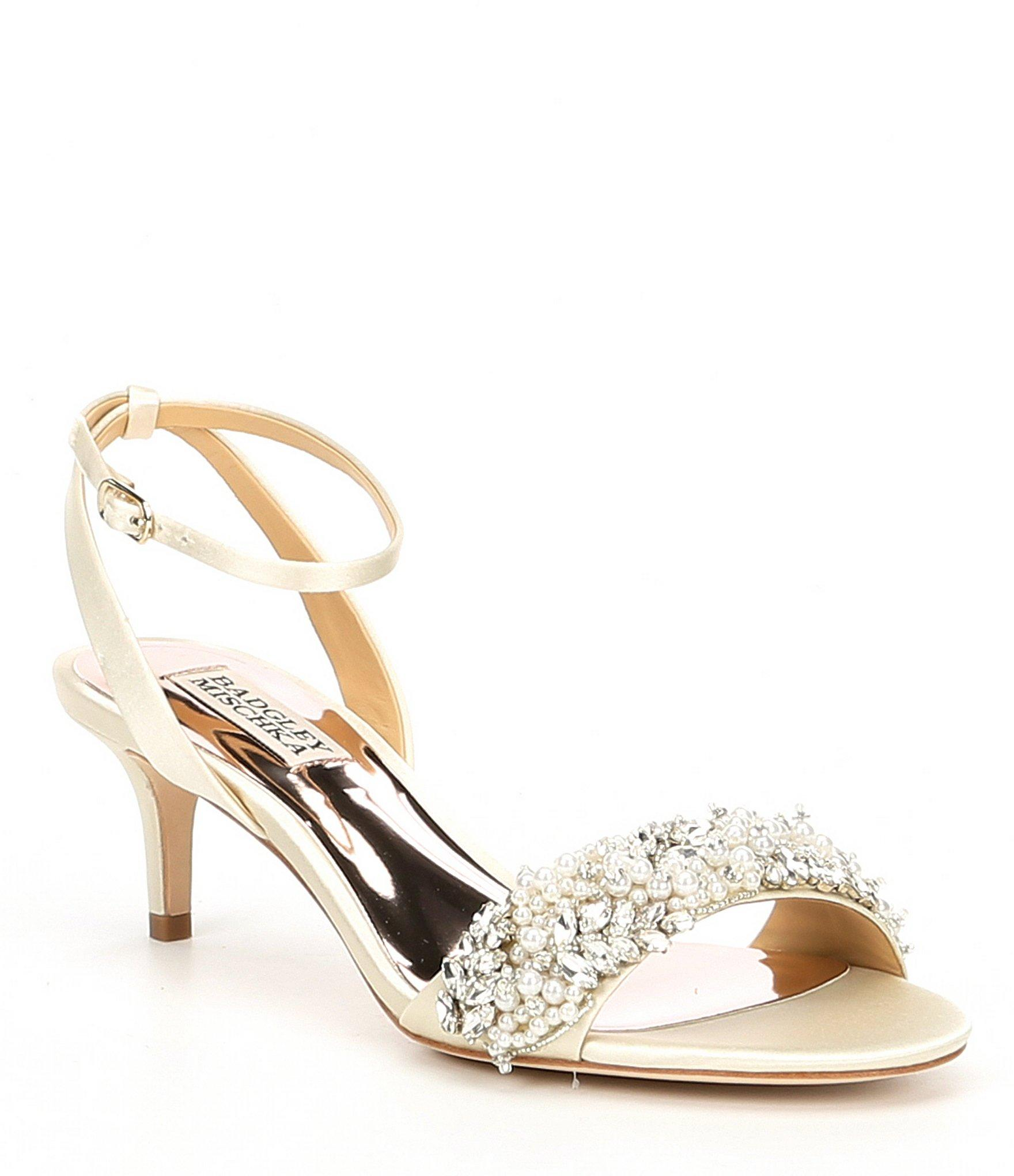 9079968de2a Lyst - Badgley Mischka Fiona Satin Pearls Kitten Heels in White
