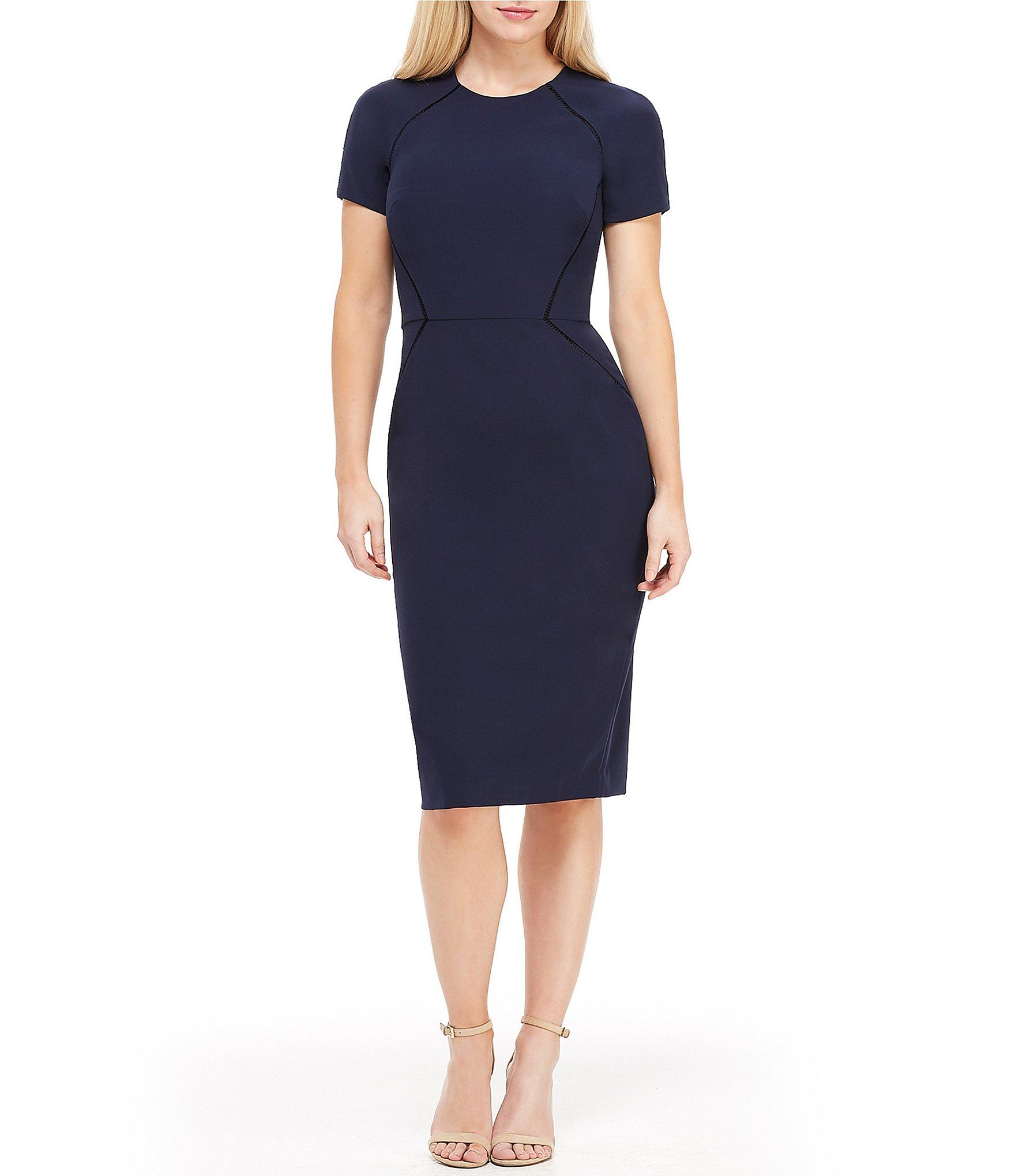 da3fa53b353 Lyst - Maggy London Crepe Inset Trim Midi Length Sheath Dress in Blue