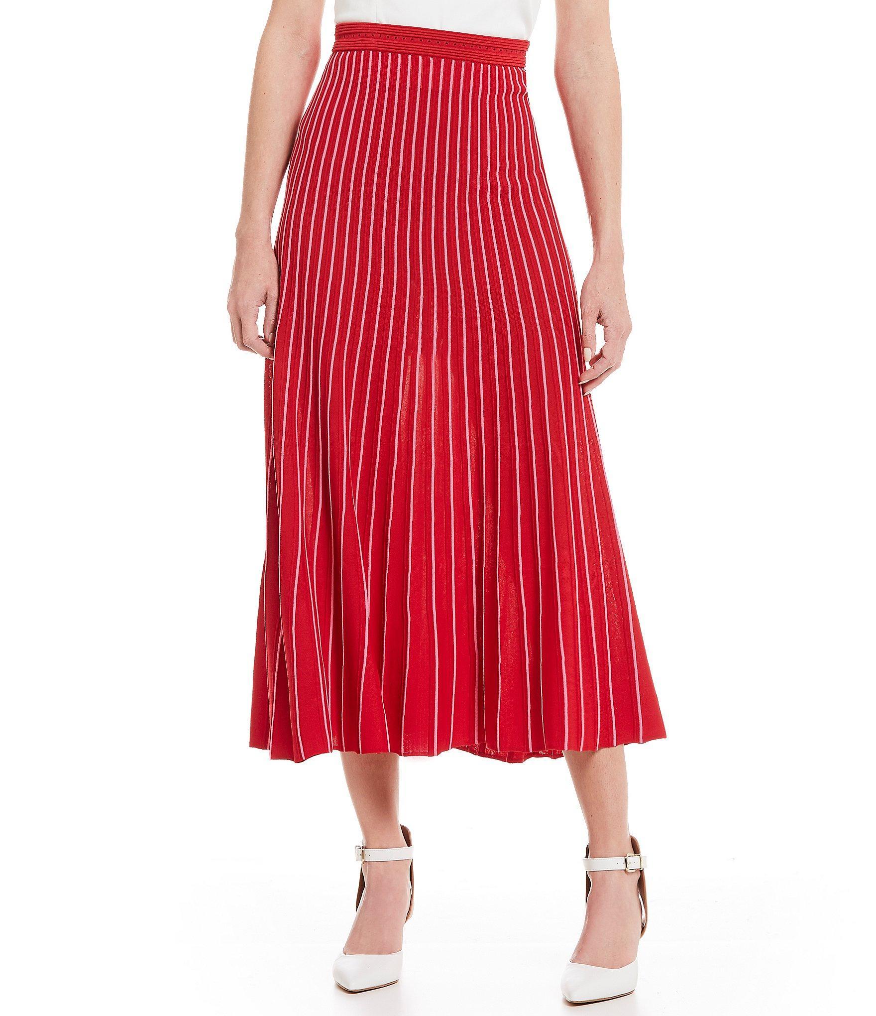 3117916cc3 Gianni Bini - Red Evanne Pleated A-line Midi Skirt - Lyst. View fullscreen