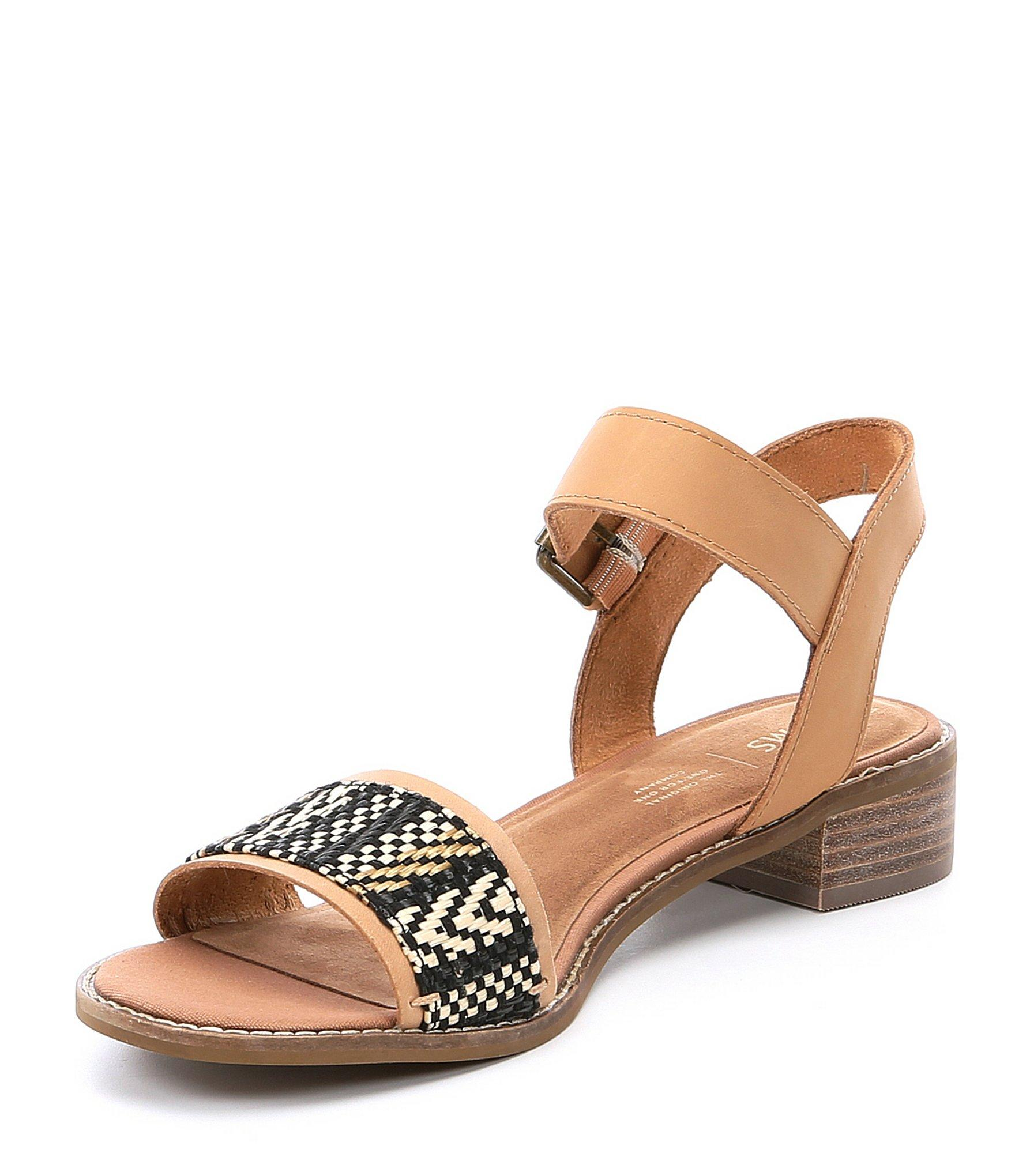 932a811b29b TOMS - Brown Camilia Leather Geo Woven Block Heel Sandals - Lyst. View  fullscreen