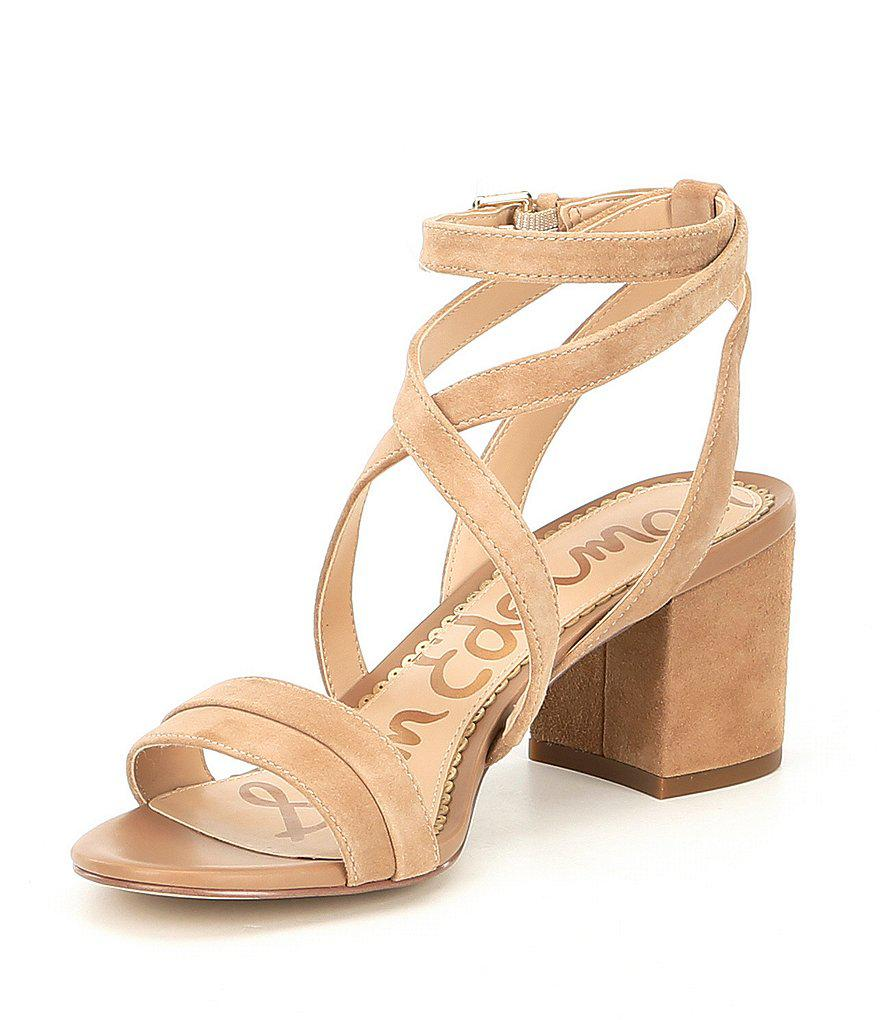 Sammy Suede Ankle Strap Block Heel Dress Sandals eVVwFgS