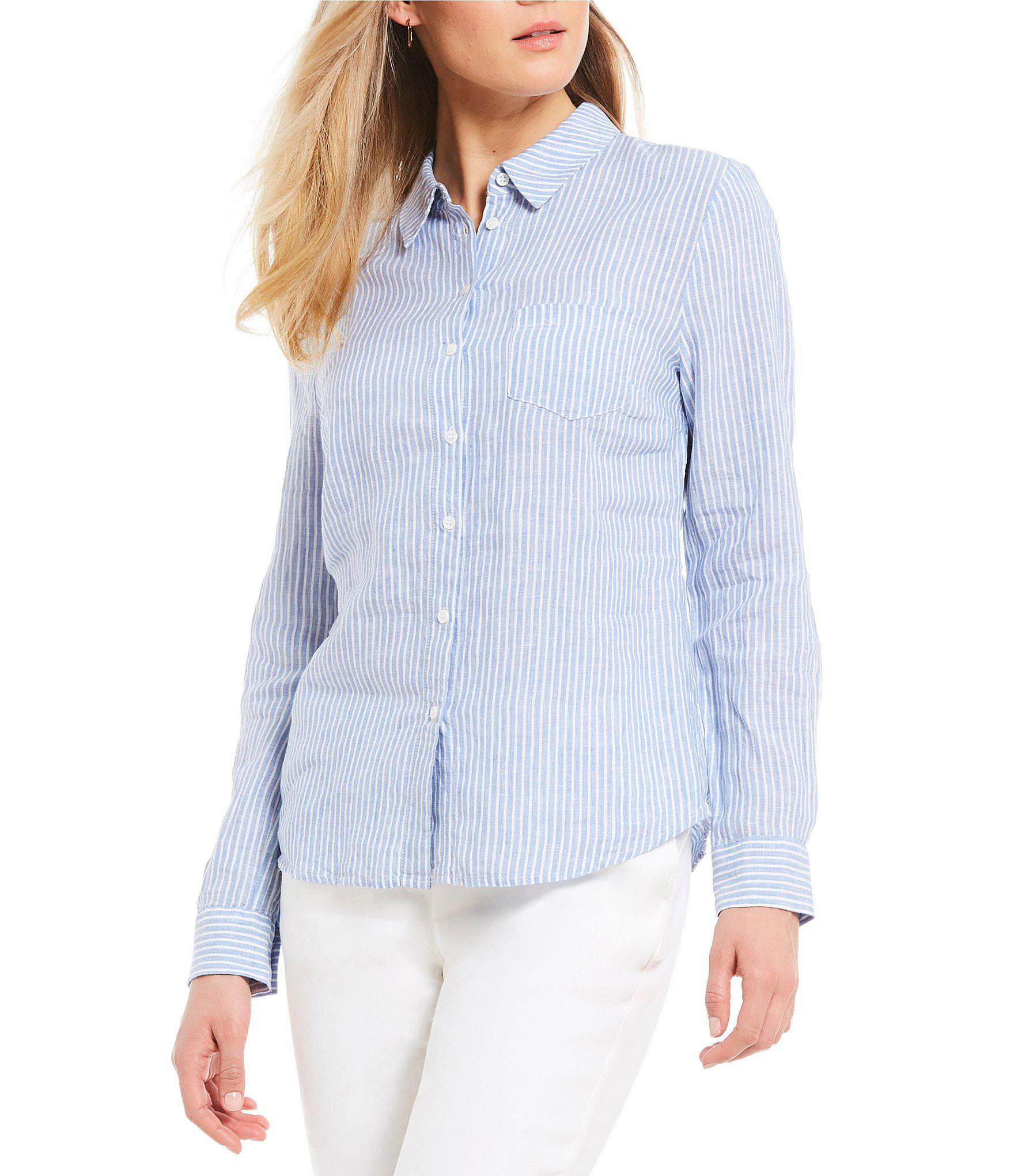 e4aaabf0a877bd Lyst - Antonio Melani Blair Pin Striped Button Front Linen Blouse in ...