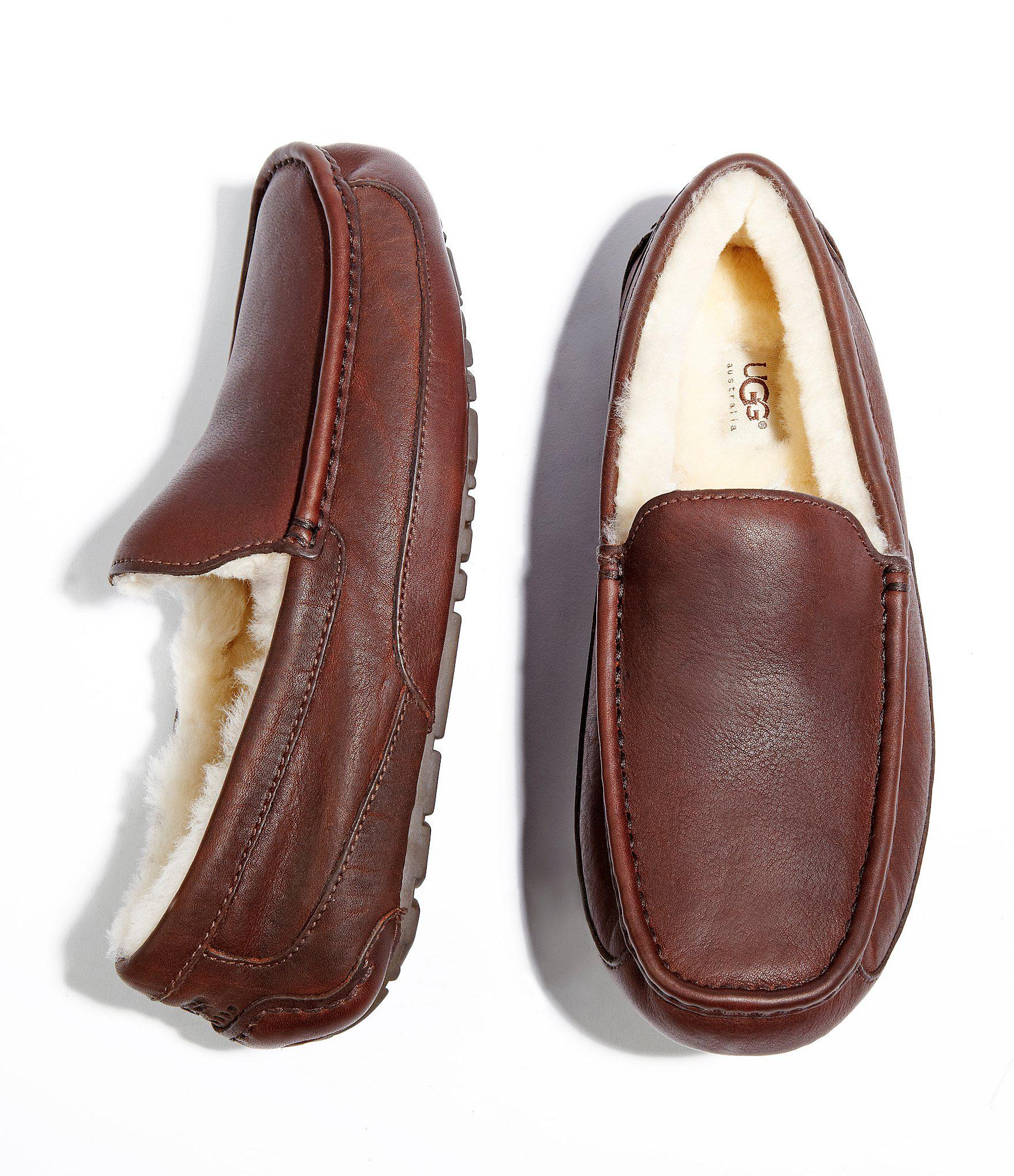 ab1e0bfff73a Ugg - Brown ® Ascot Men ́s Leather Slippers for Men - Lyst. View fullscreen