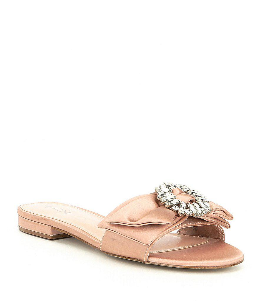77cd5c2b4 Lyst - ALDO Ibaynna Bow And Bling Brooch Detail Slide Sandals in Pink
