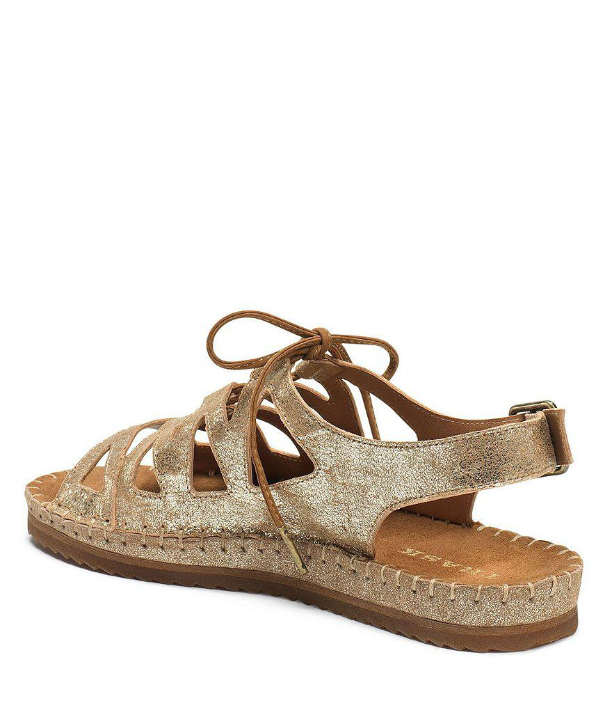 Trask Chandler Metallic Sheepskin Leather Ghillie Lace Up Sandals 6QYp4n20Tv