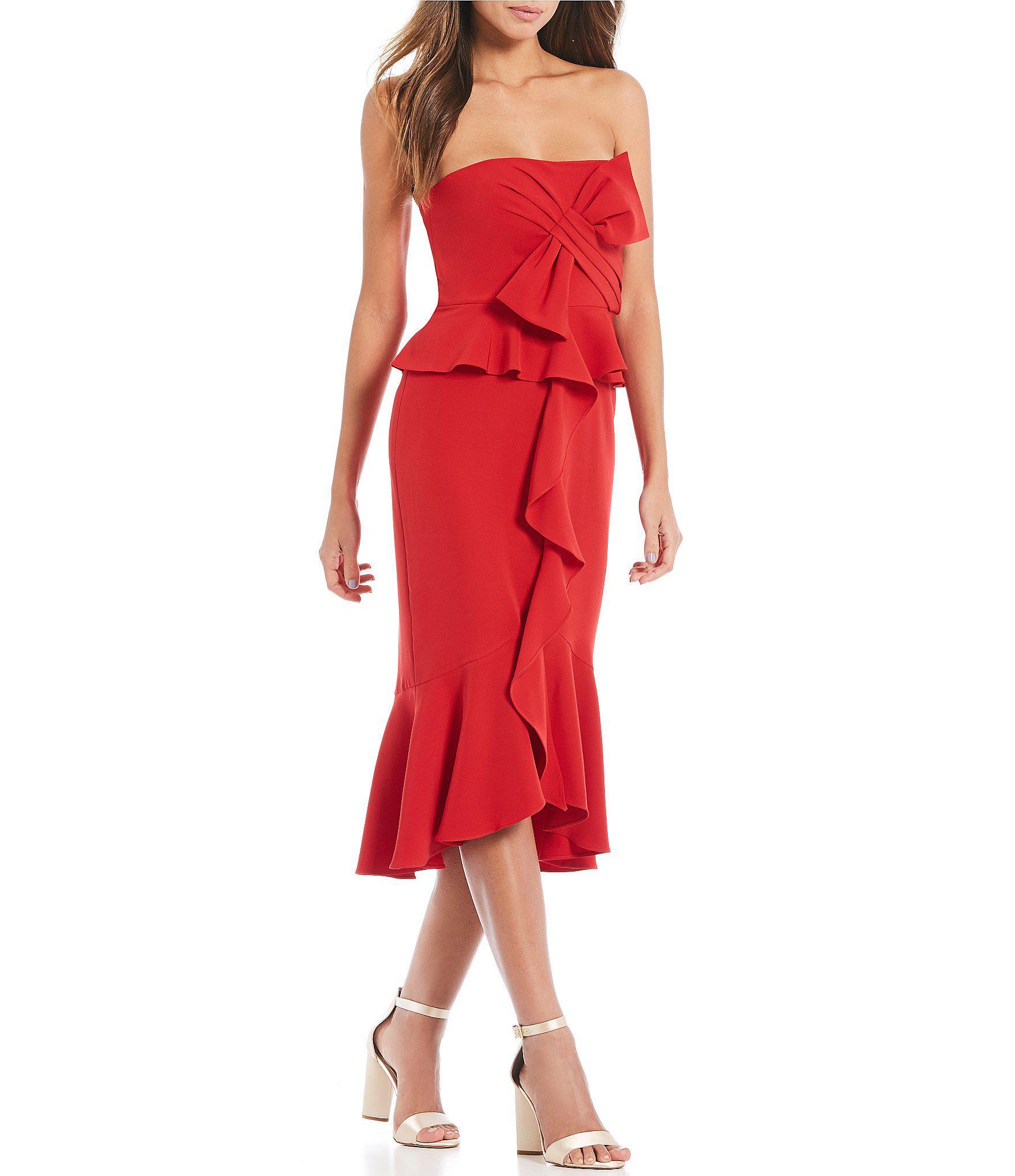 0cbb36bdb1 Gianni Bini Lana Bow Detail Strapless Midi Dress in Red - Lyst