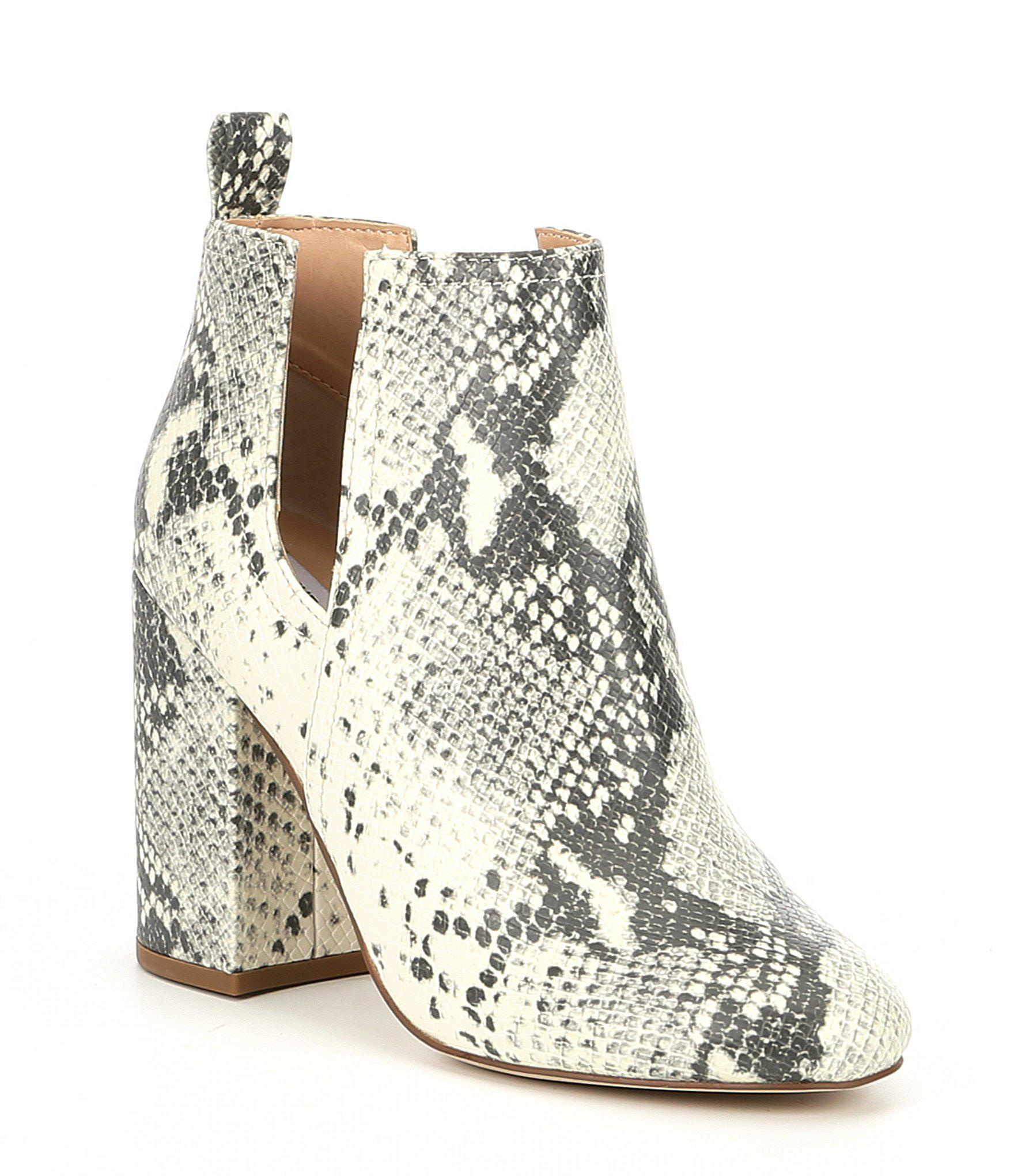 a48ce66e7c6 Lyst - Steve Madden Nayna Snake Print Block Heel Booties in Natural