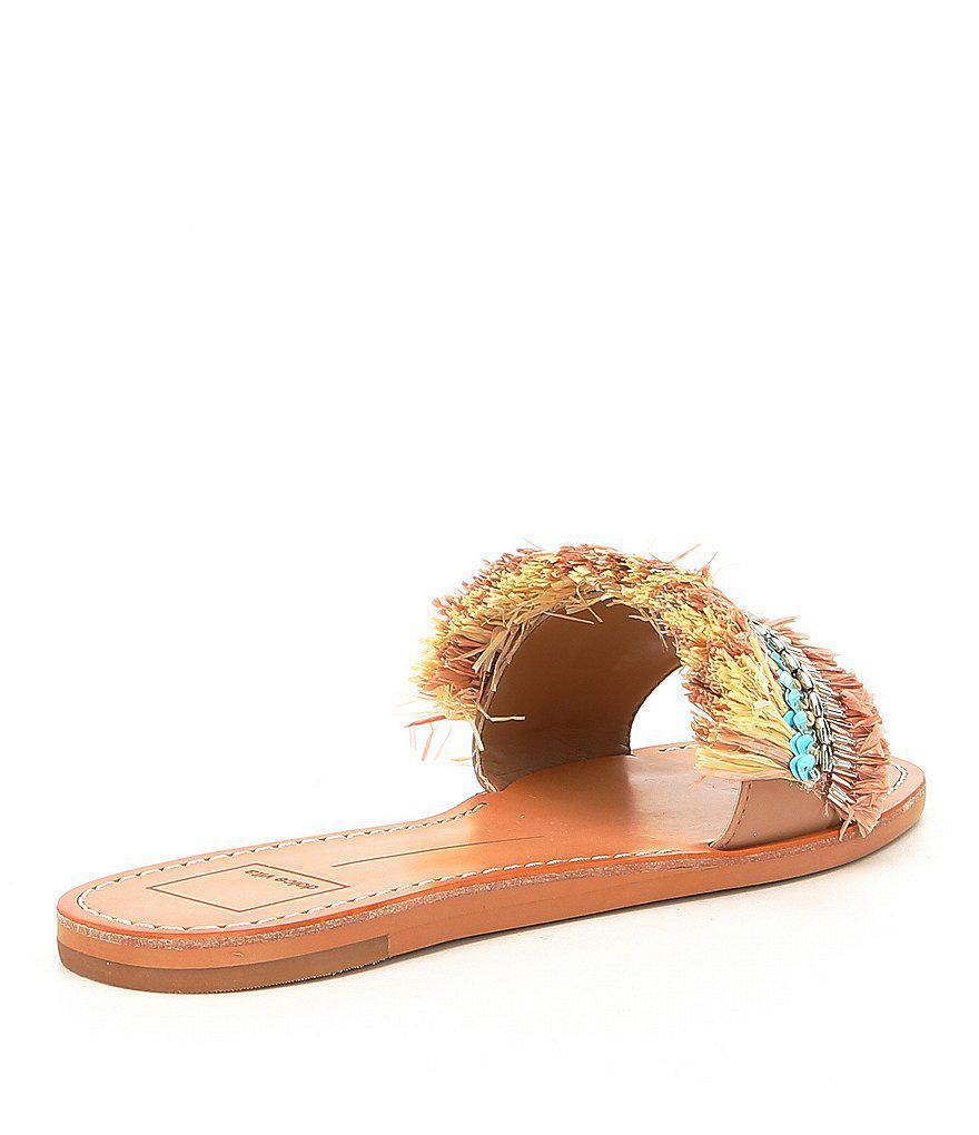 Dolce Vita Cadiz Raffia and Sequin Slip-On Sandals m1MfpCe3